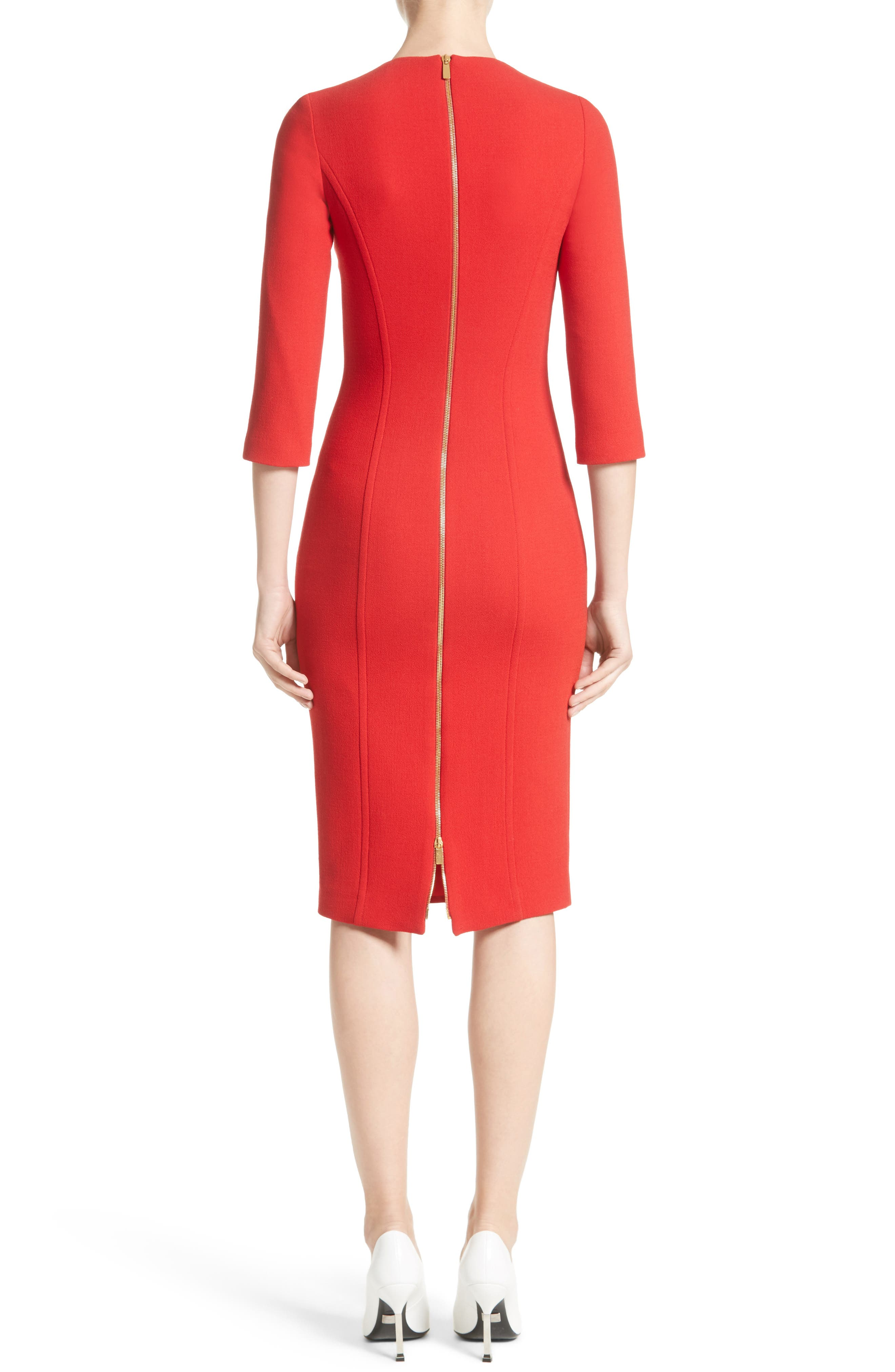 Stretch Wool Bouclé Sheath Dress,                             Alternate thumbnail 2, color,                             600
