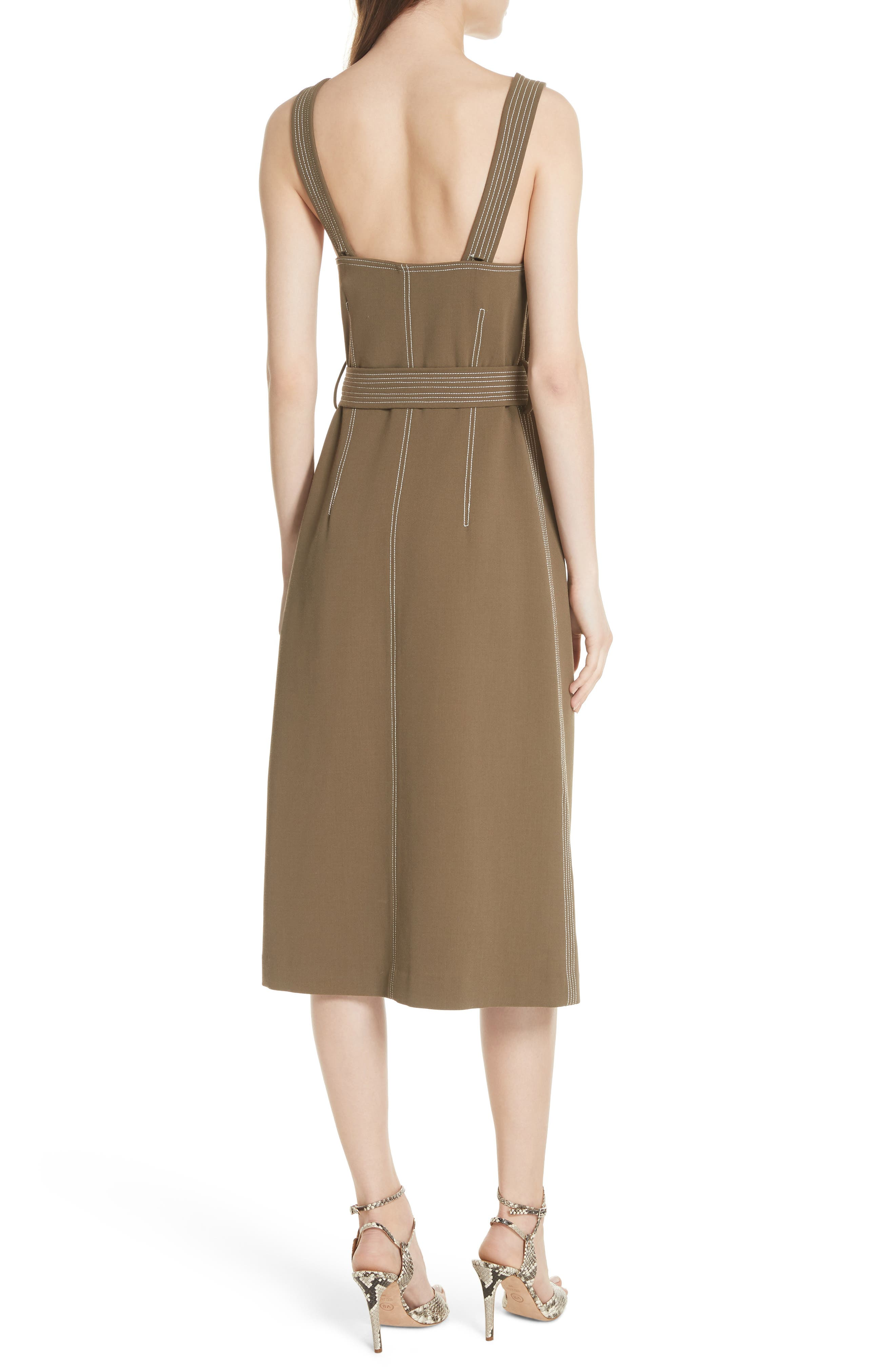 Adora Belted Dress,                             Alternate thumbnail 2, color,                             ARMY GREEN