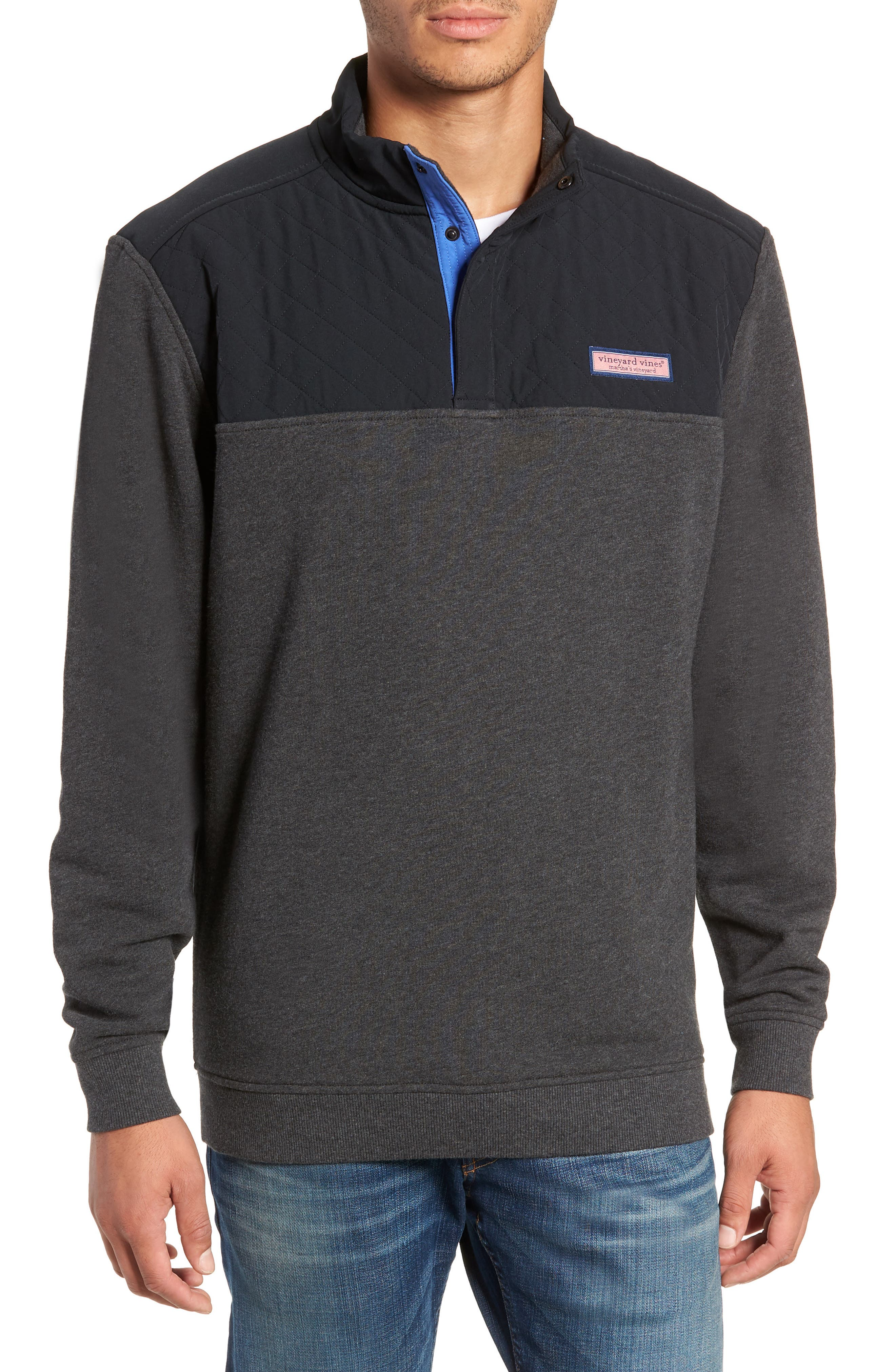 Shep Colorblock Quilted Pullover,                             Main thumbnail 1, color,                             JET BLACK