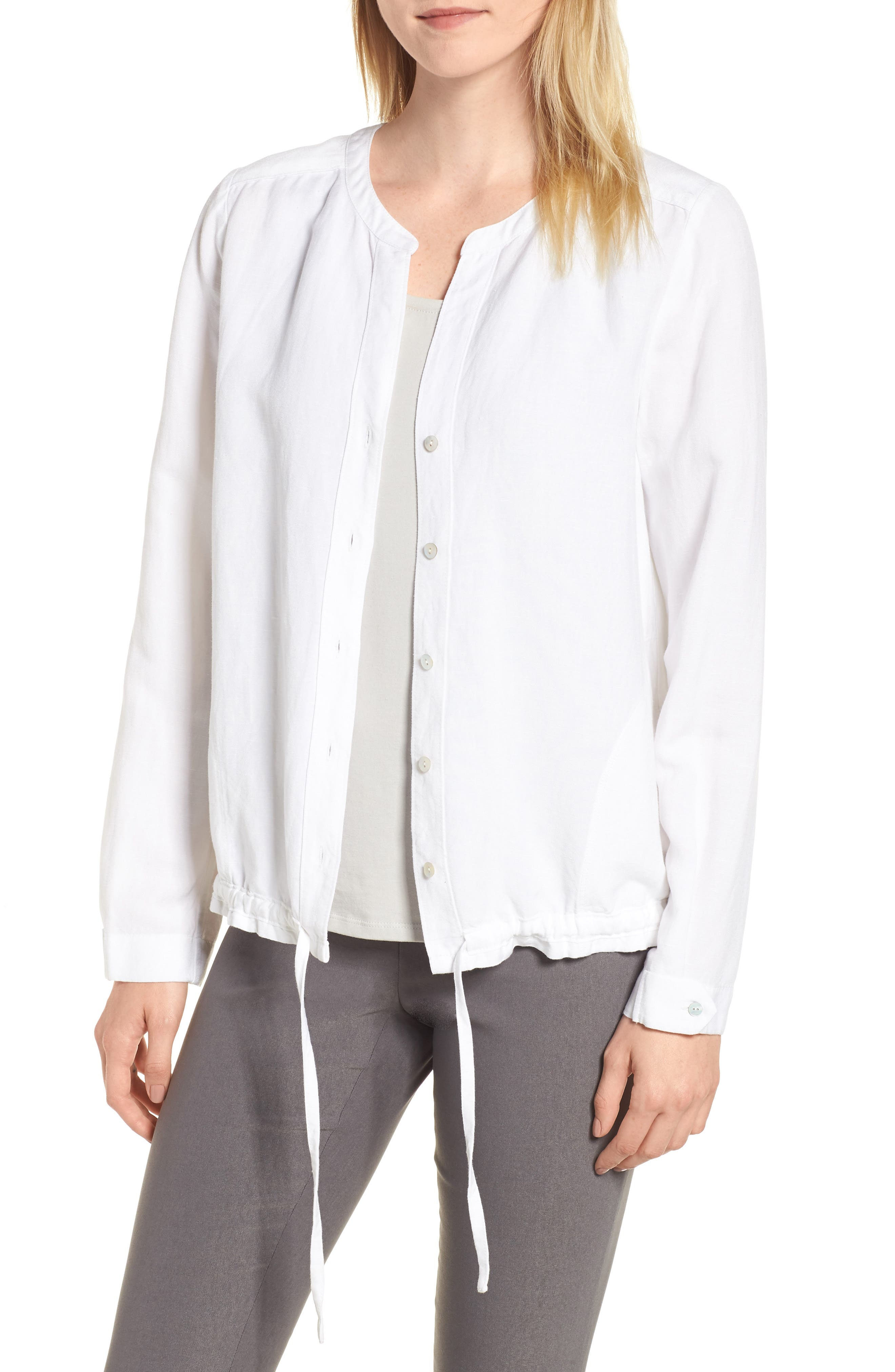 Homebound Linen Blend Drawstring Jacket,                             Main thumbnail 1, color,                             PAPER WHITE