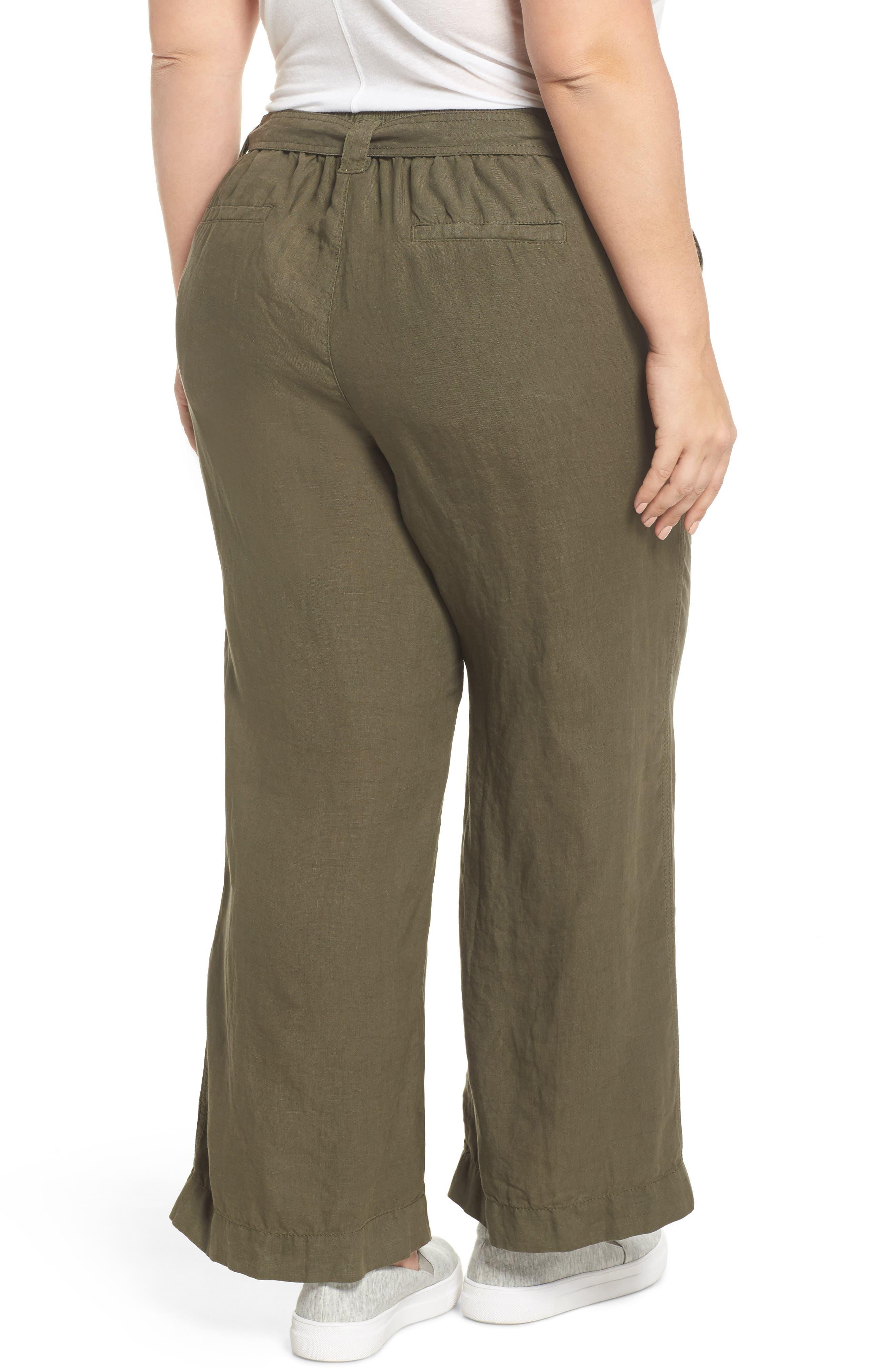 Wide Leg Crop Linen Pants,                             Alternate thumbnail 2, color,                             311
