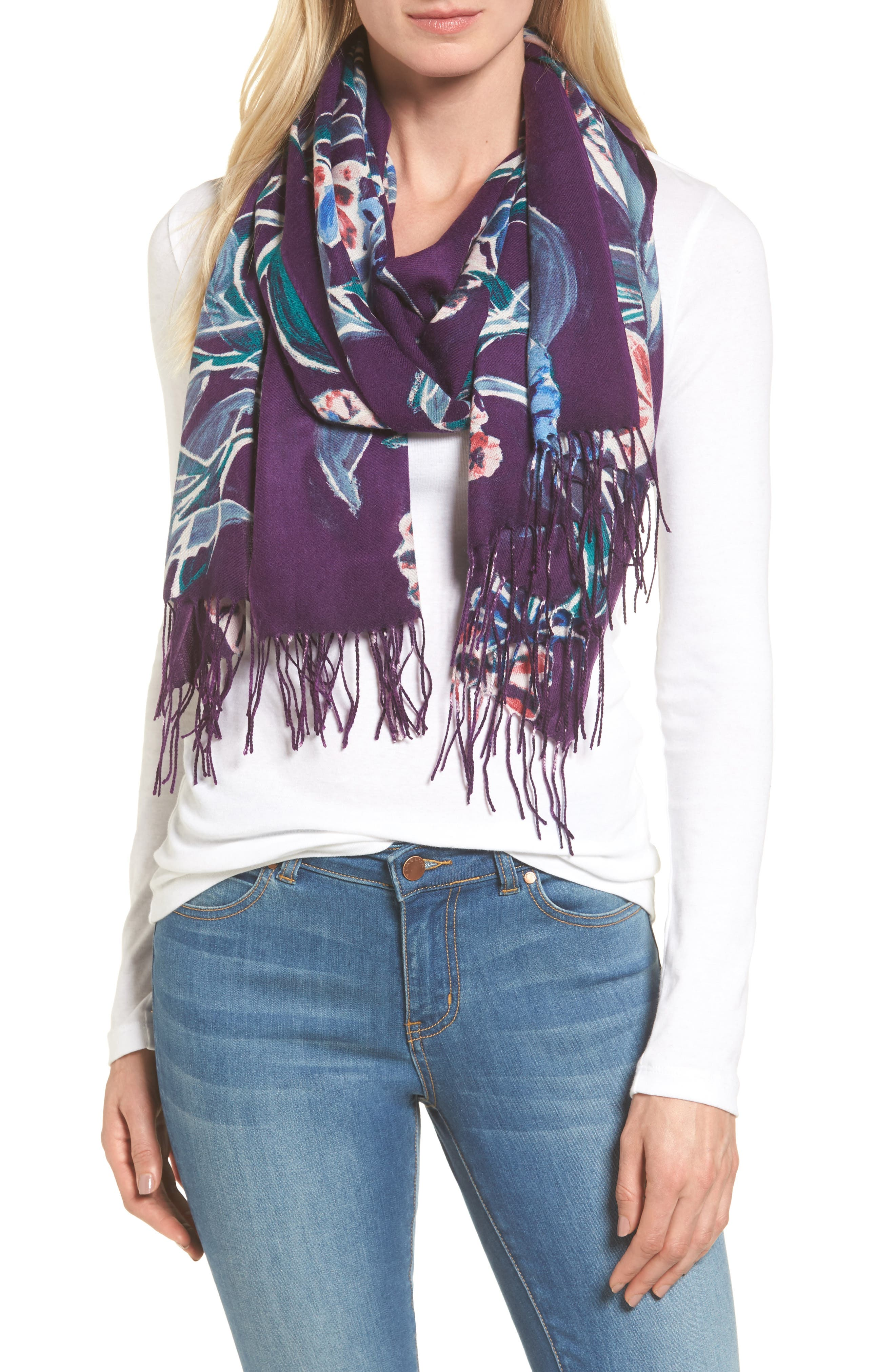 Pressed Flowers Tissue Weight Wool & Cashmere Scarf,                             Main thumbnail 3, color,
