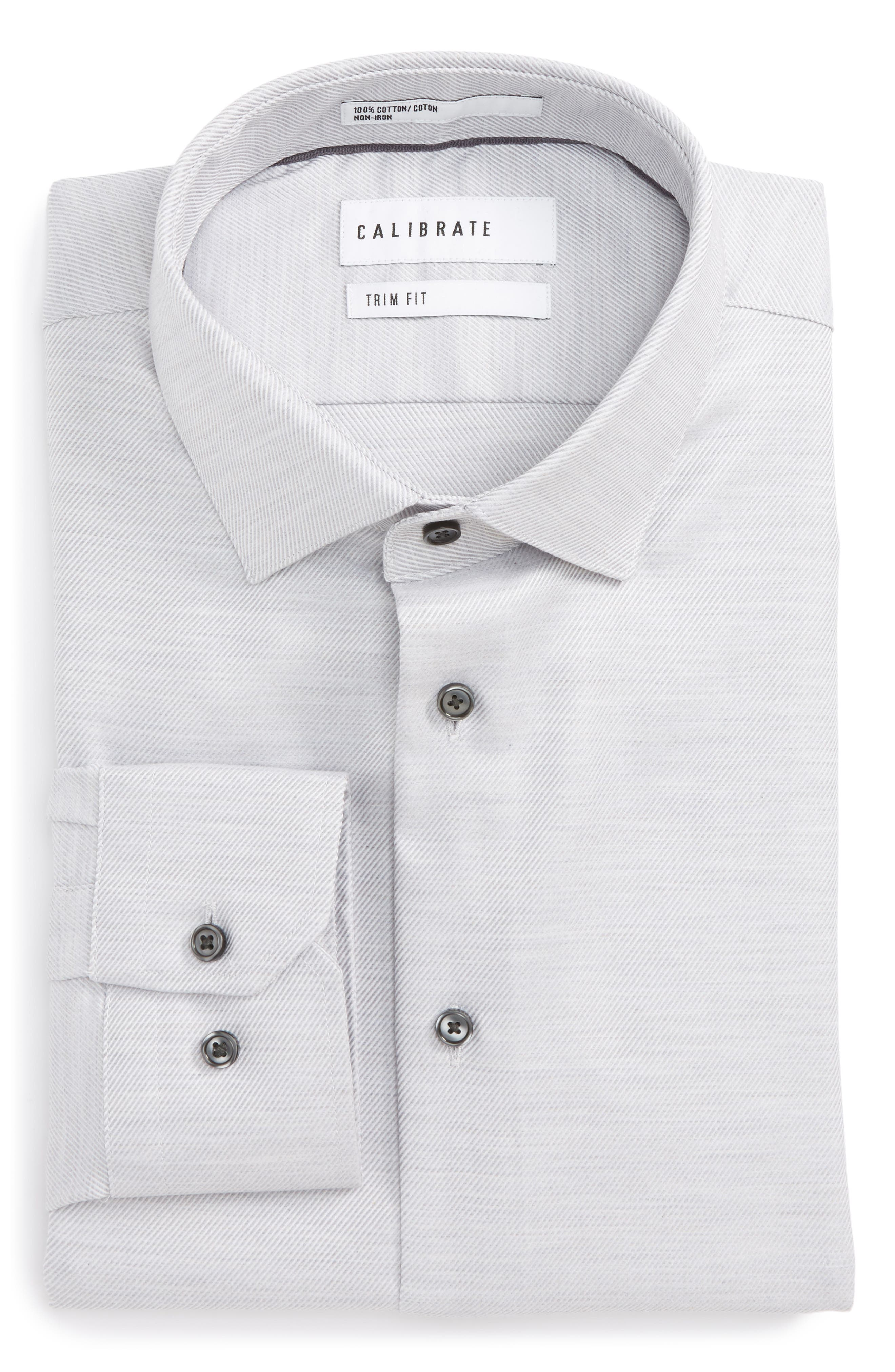 Trim Fit Twill Dress Shirt,                         Main,                         color, 020