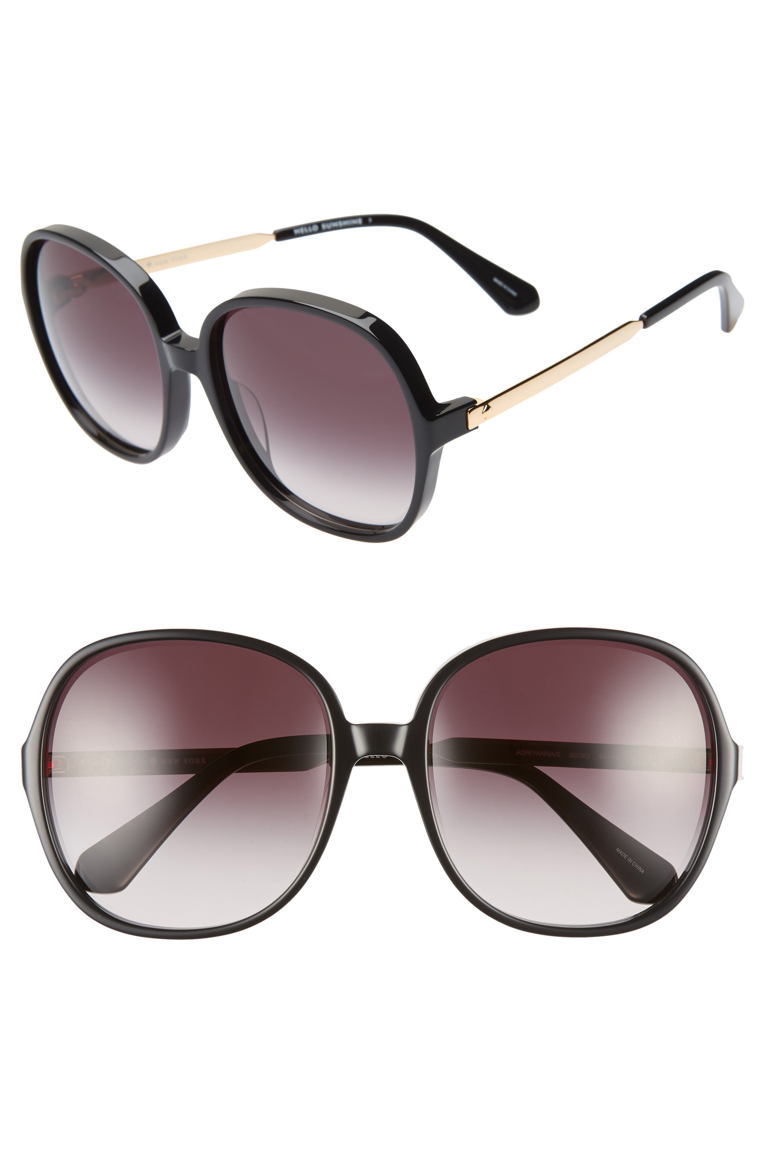adriyanna 60mm round sunglasses,                         Main,                         color, BLACK