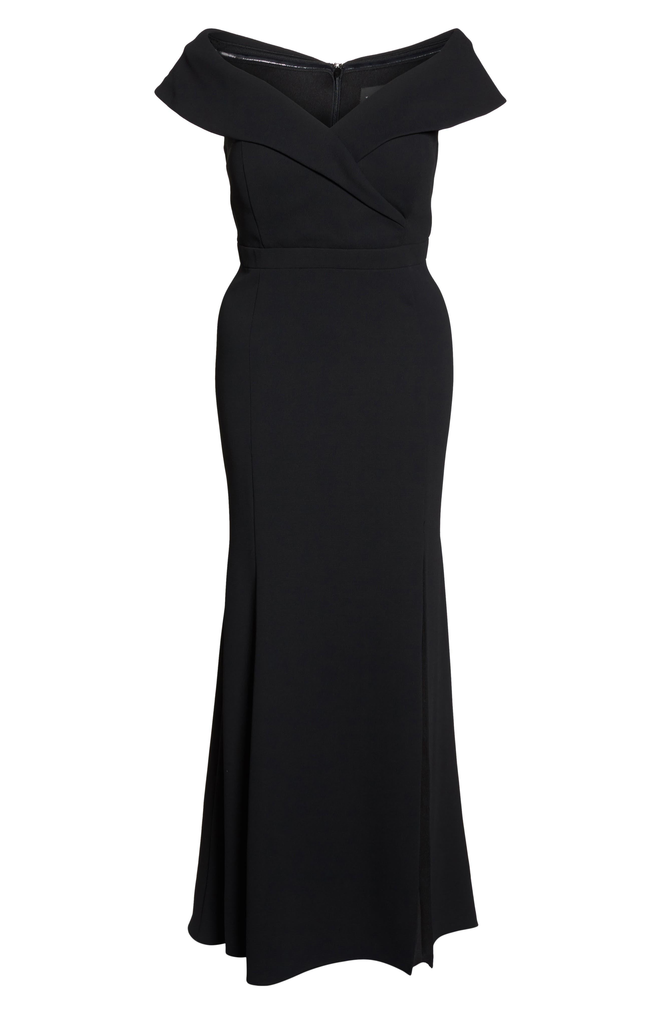 Off the Shoulder Front Slit Crepe Dress,                             Alternate thumbnail 6, color,                             001