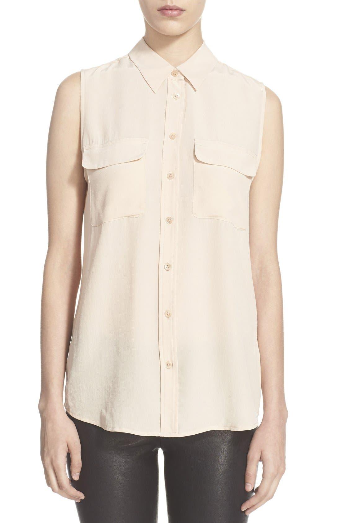'Slim Signature' Sleeveless Silk Shirt,                             Main thumbnail 10, color,