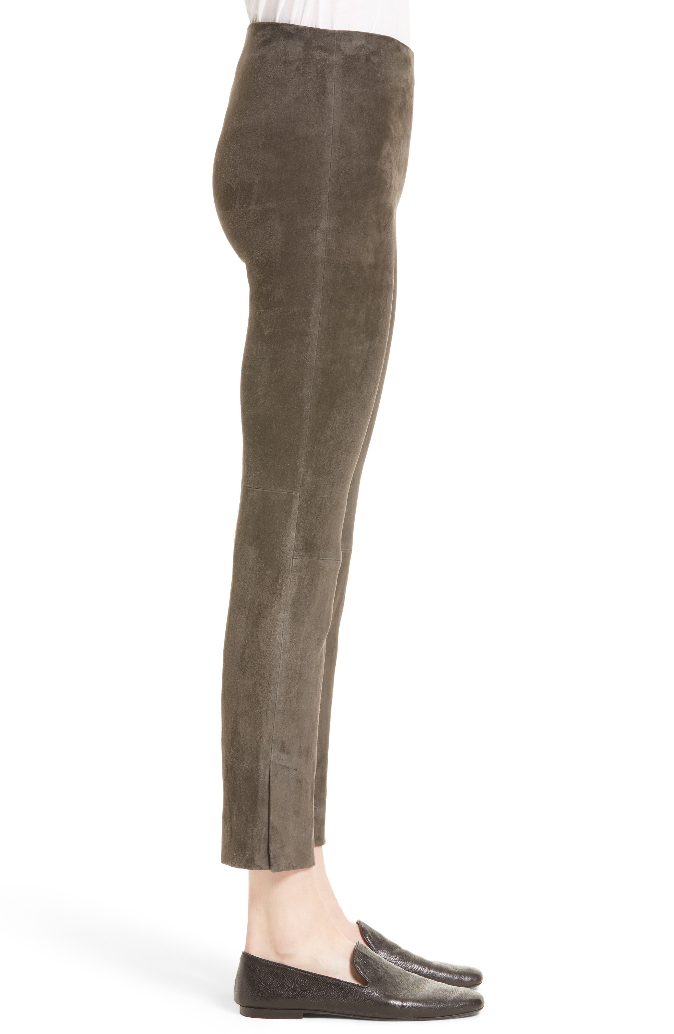 Stretch Suede Crop Pants,                             Alternate thumbnail 3, color,                             082