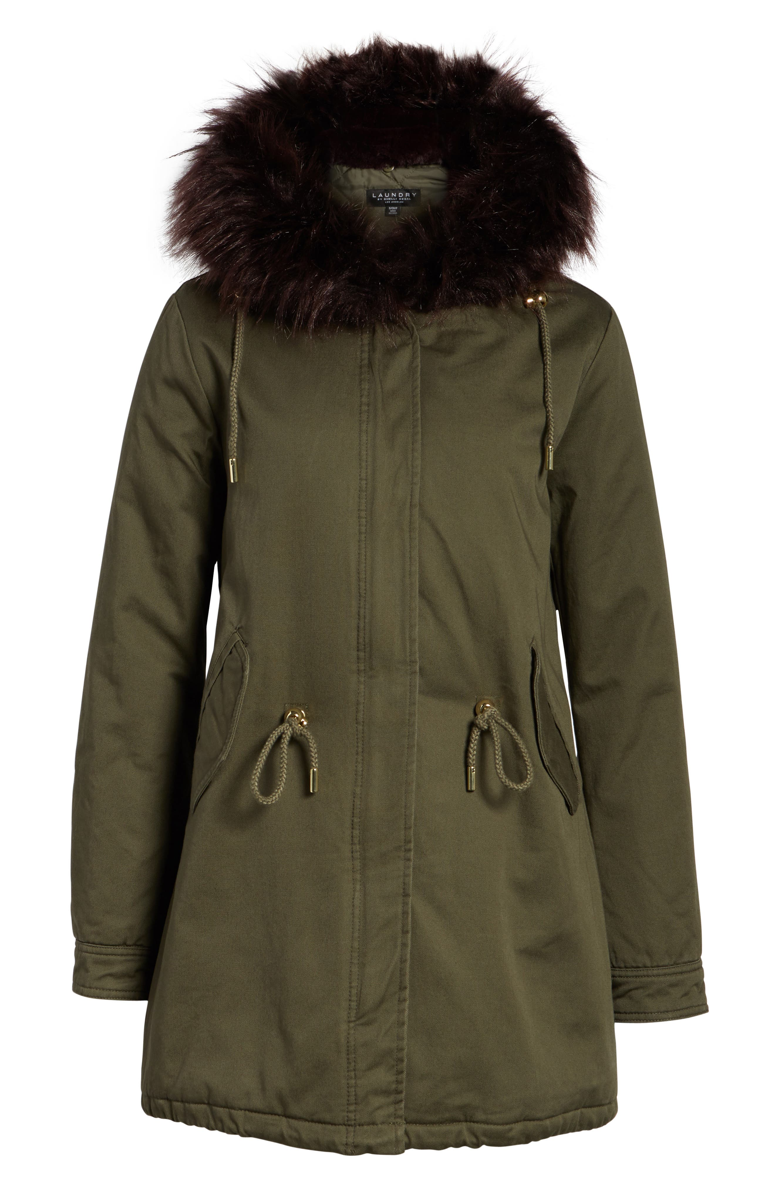 Faux Fur Lined Twill Parka,                             Alternate thumbnail 5, color,                             315