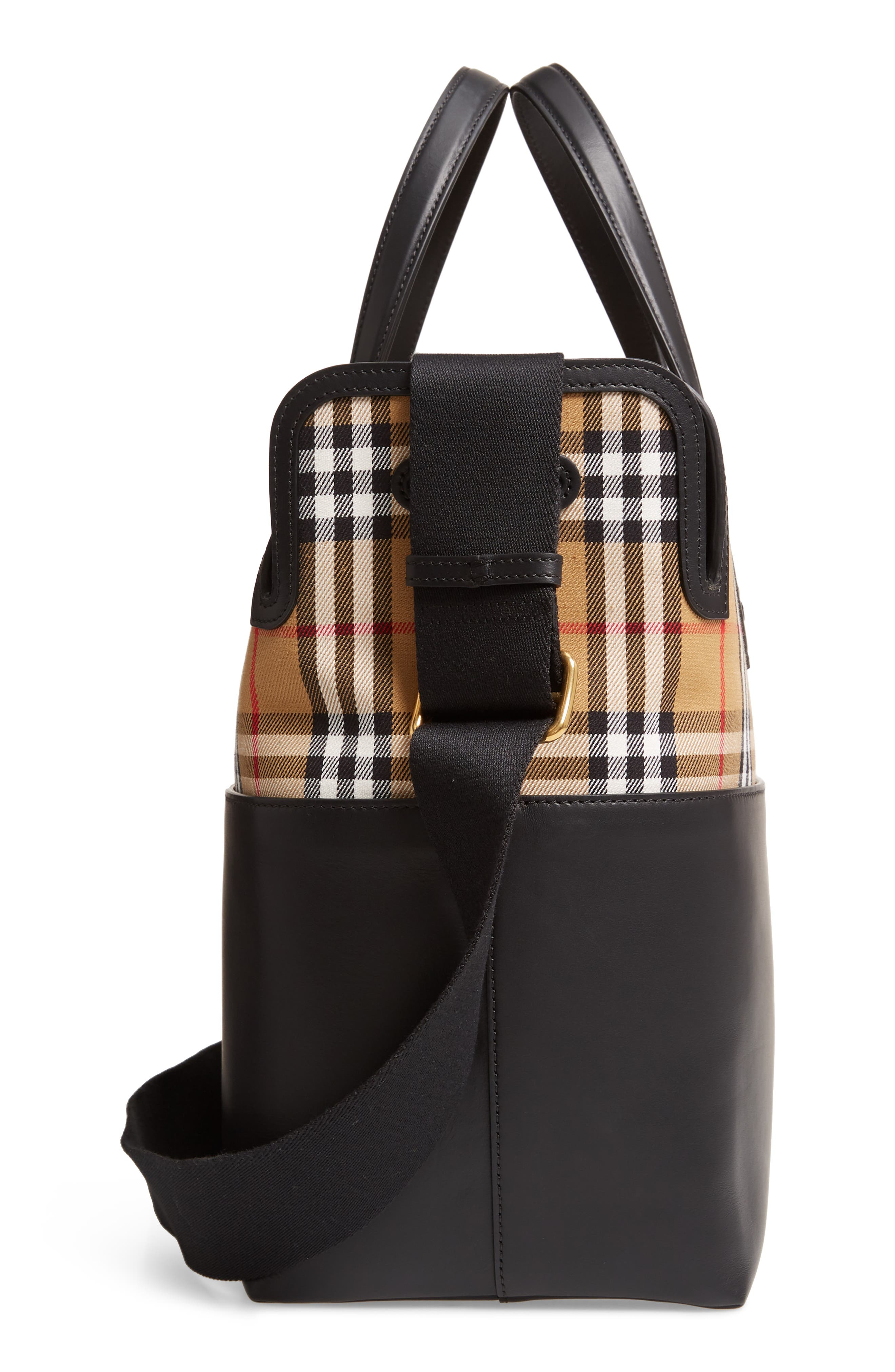 Kingswood Vintage Check & Leather Diaper Tote,                             Alternate thumbnail 5, color,                             BLACK