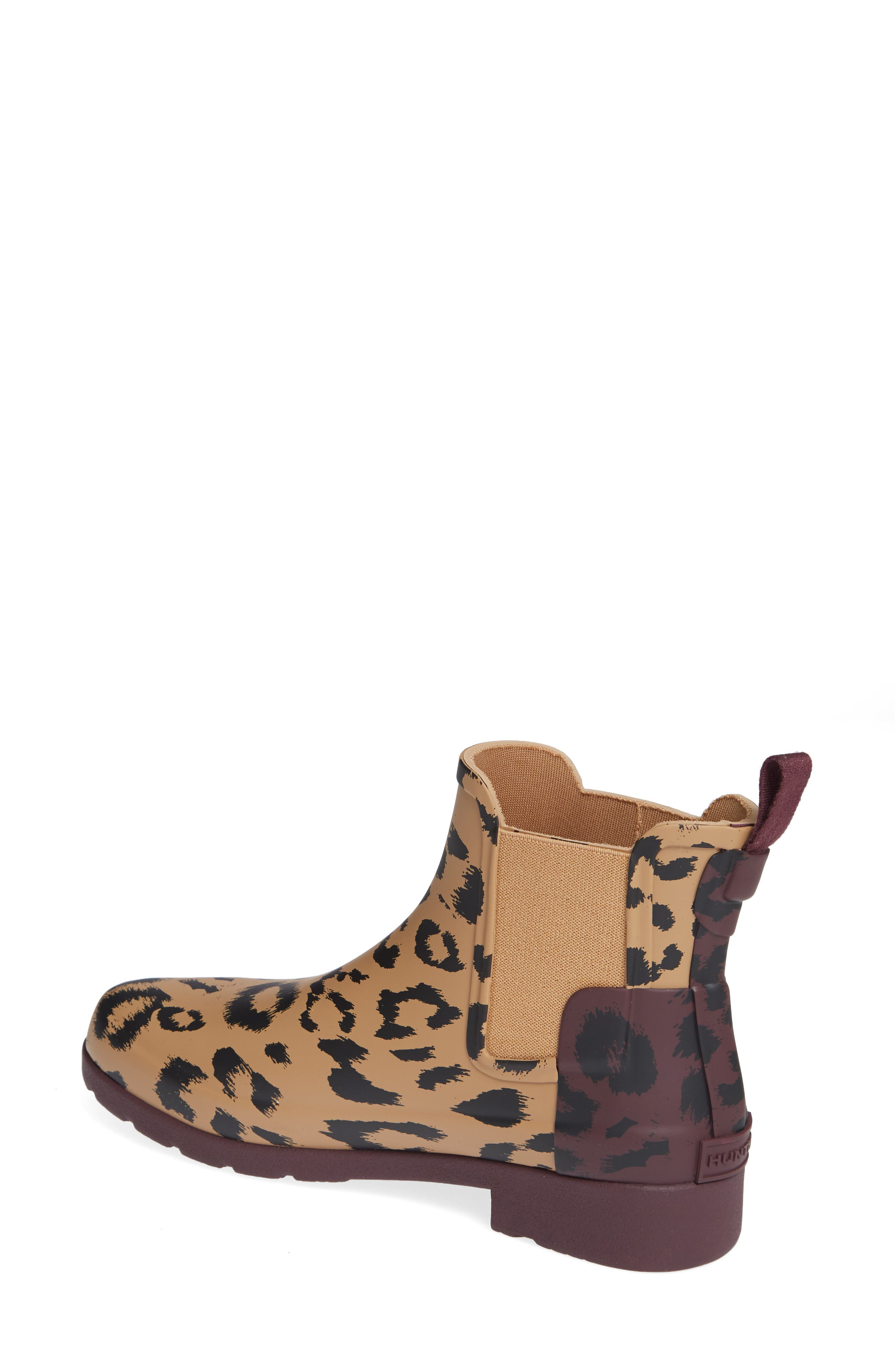 HUNTER,                             Original Leopard Print Refined Chelsea Waterproof Rain Boot,                             Alternate thumbnail 2, color,                             242
