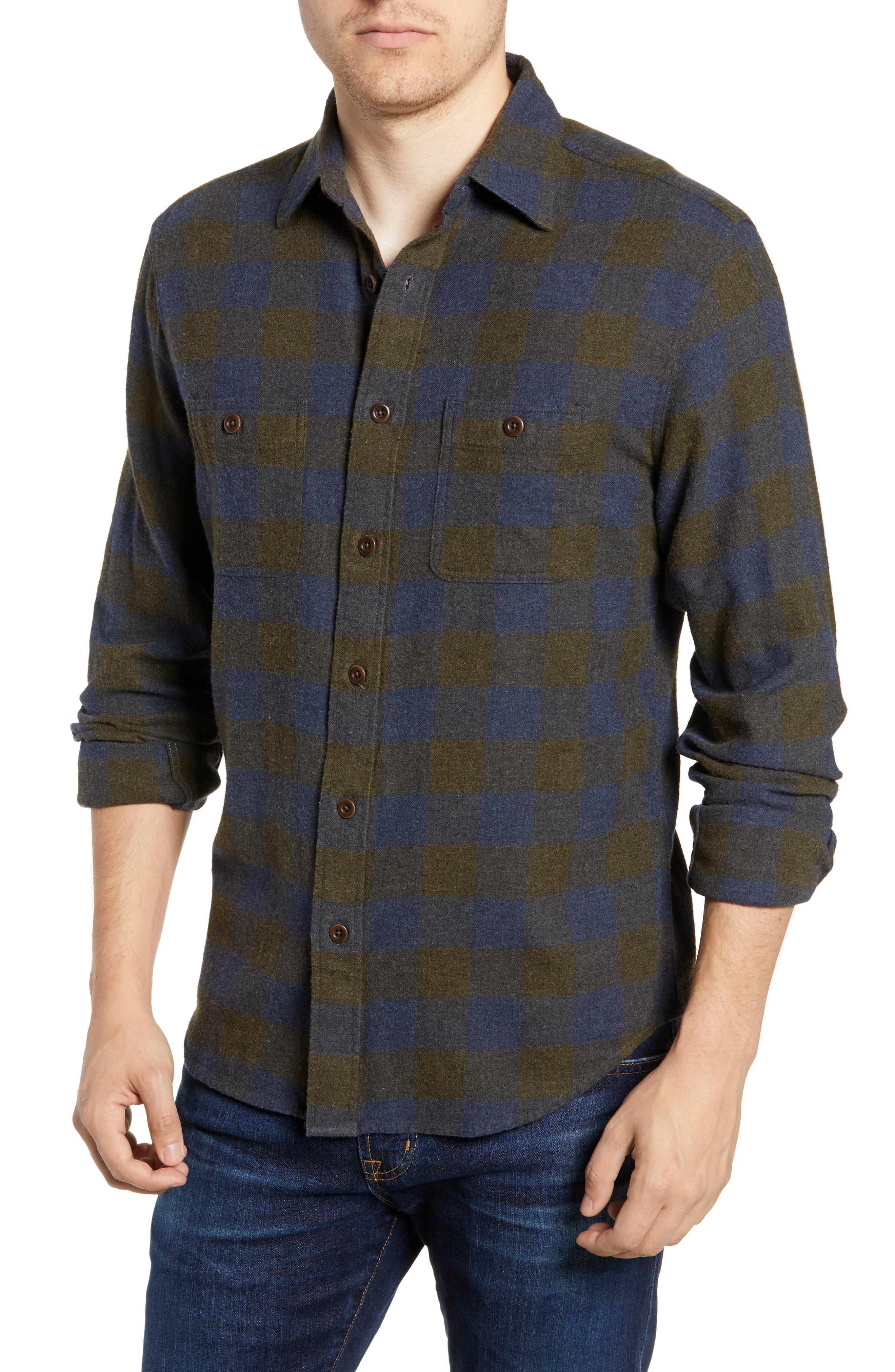 Seasons Check Flannel Shirt,                         Main,                         color, NAVY OLIVE BUFFALO