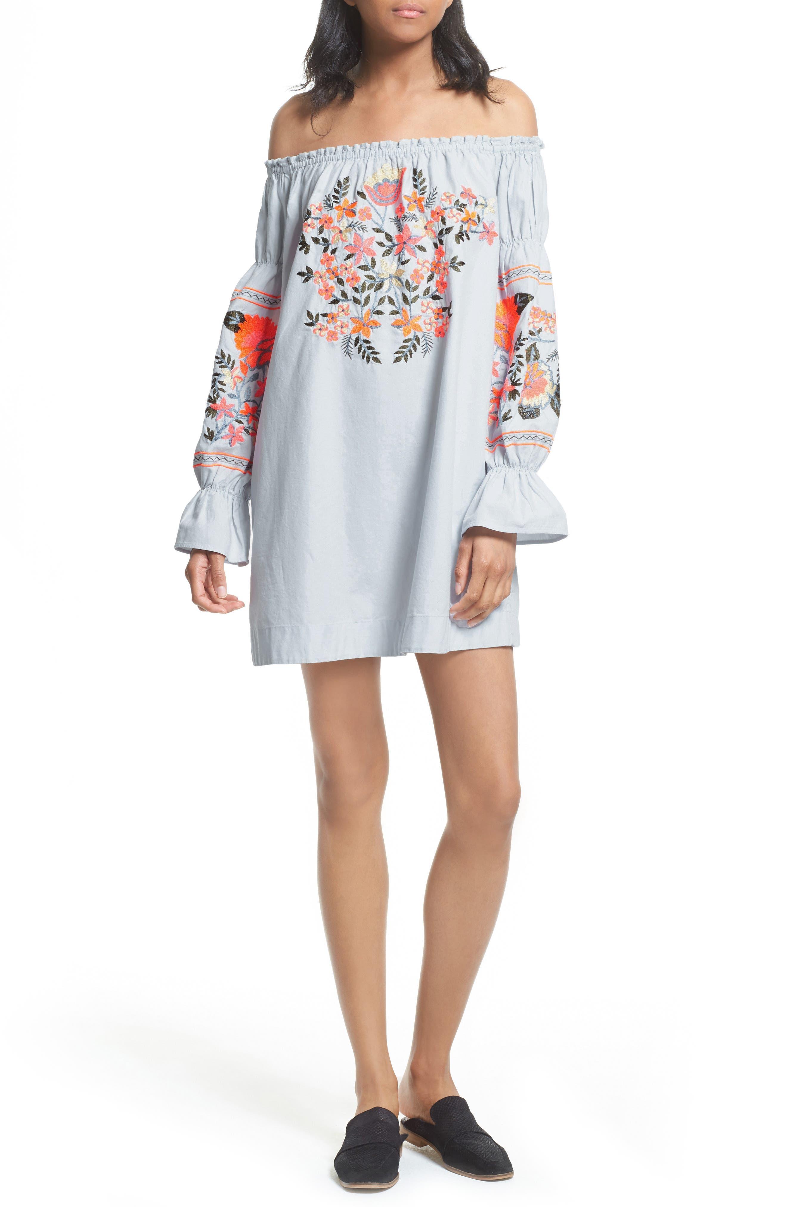 Fleur Du Jour Shift Dress,                         Main,                         color, BLUE