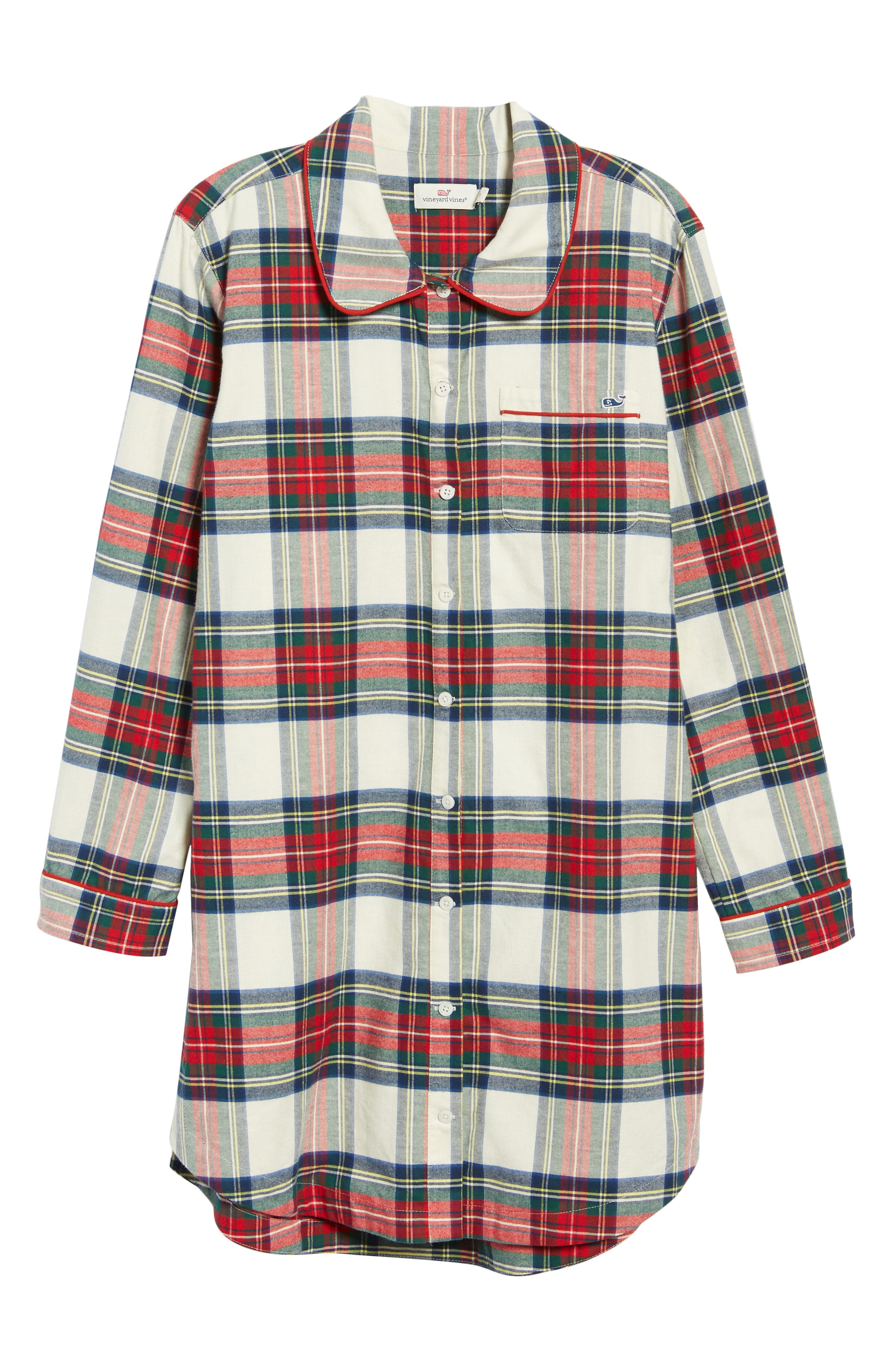 Jolly Plaid Flannel Pajama Shirt,                             Alternate thumbnail 7, color,                             FROST