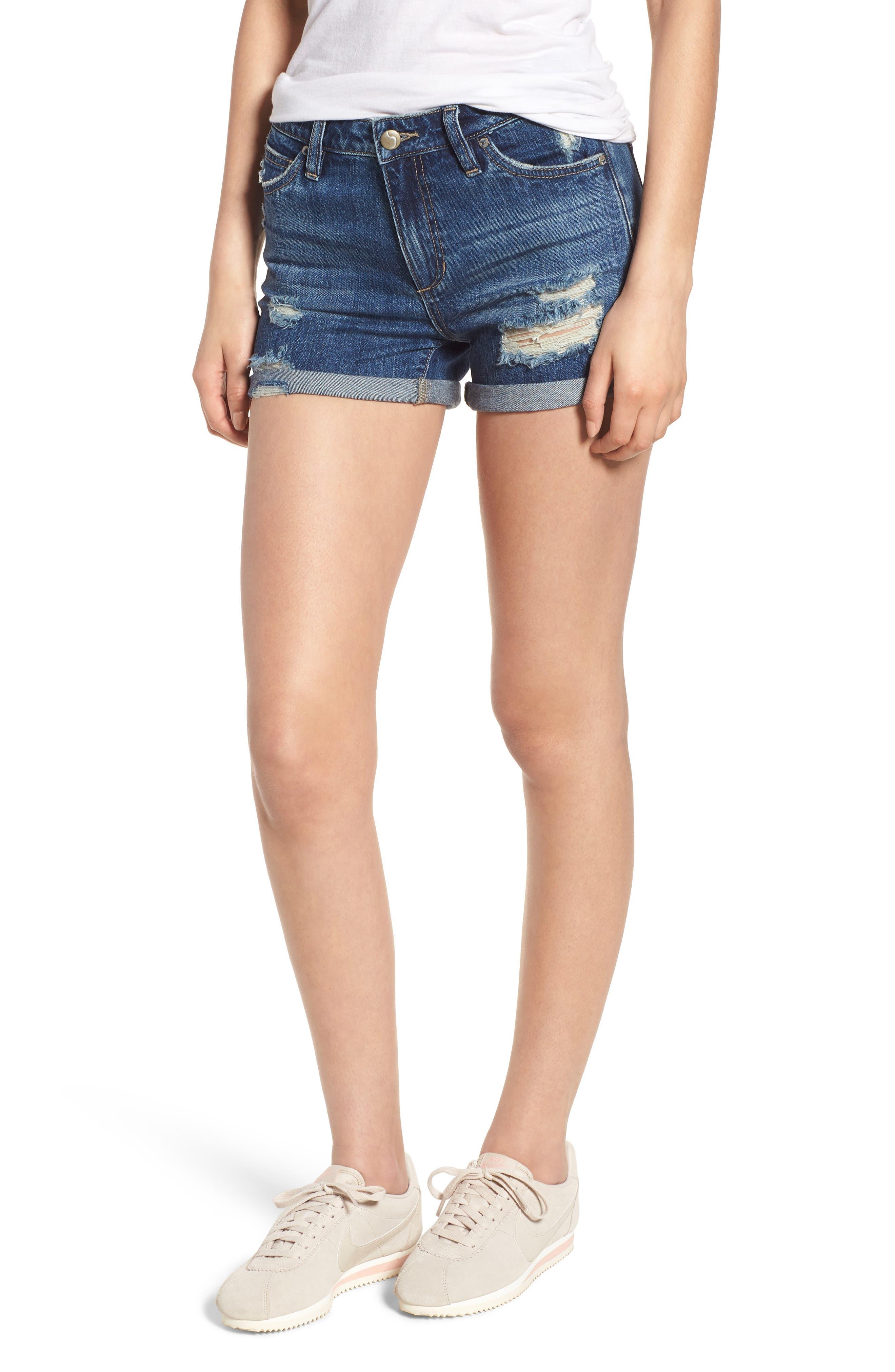 The Ozzie Roll Cuff Denim Shorts,                             Main thumbnail 1, color,                             450