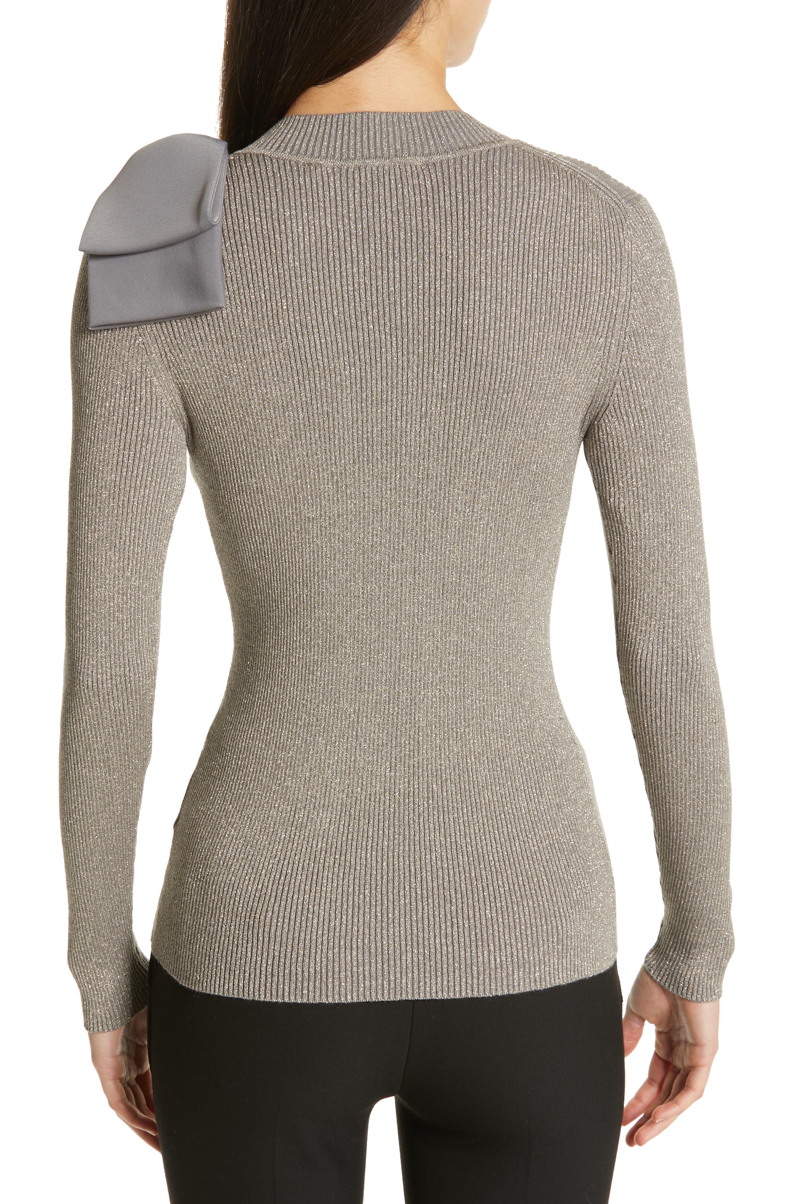 Saaydie Bow Trim Metallic Sweater,                             Alternate thumbnail 2, color,                             CHARCOAL