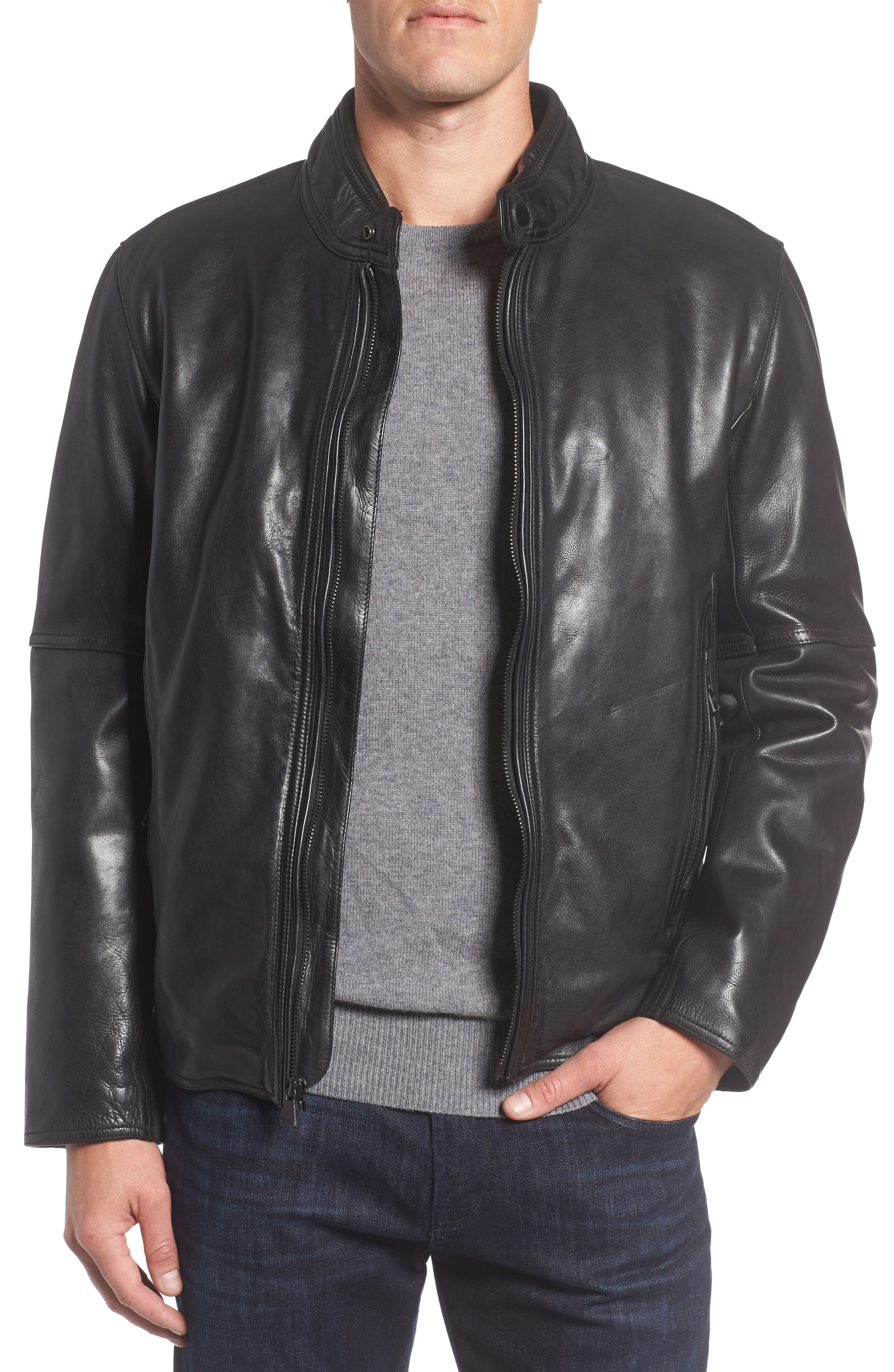 Calfskin Leather Moto Jacket,                         Main,                         color, 001