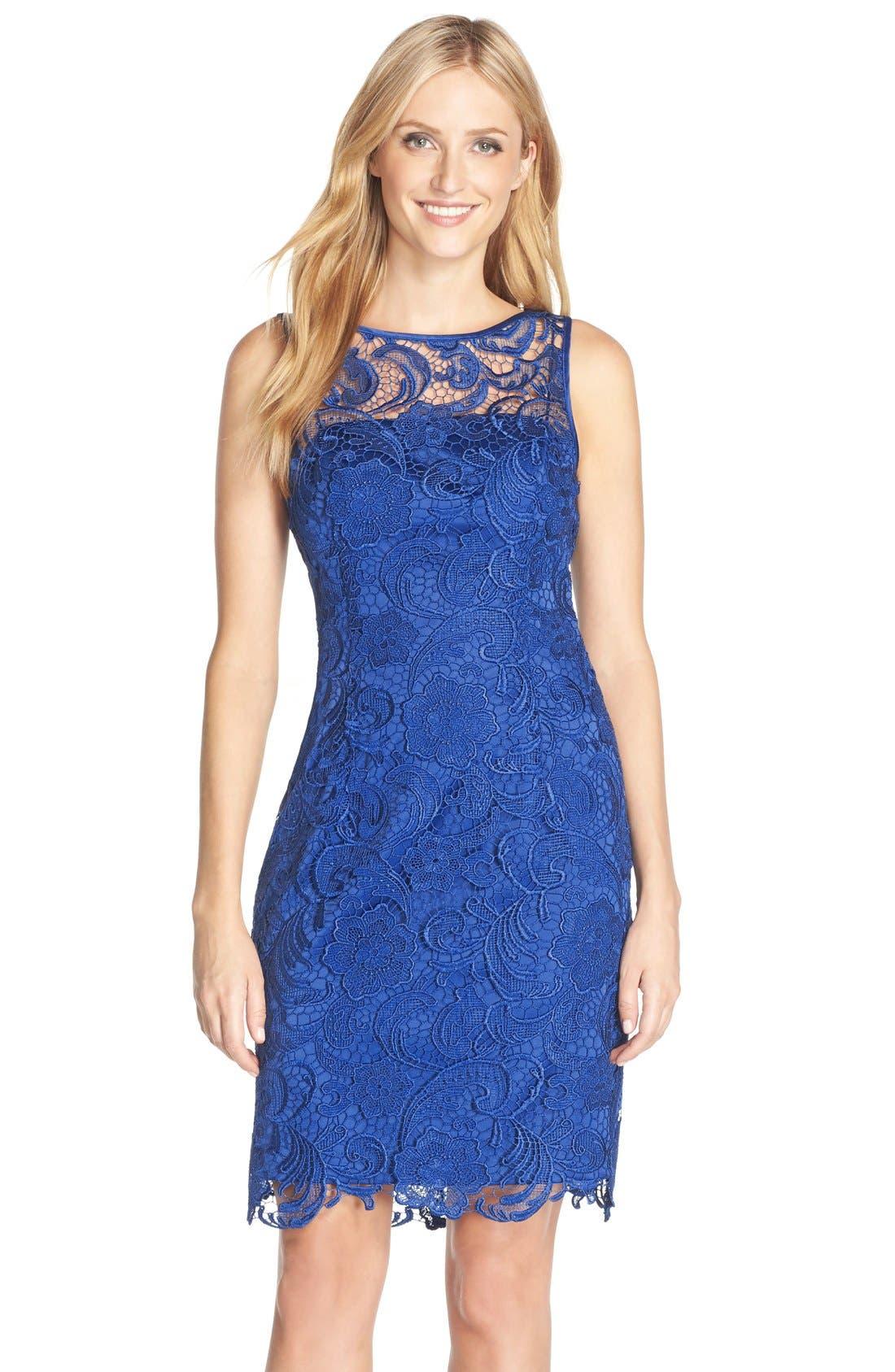 Illusion Bodice Lace Sheath Dress,                             Main thumbnail 8, color,