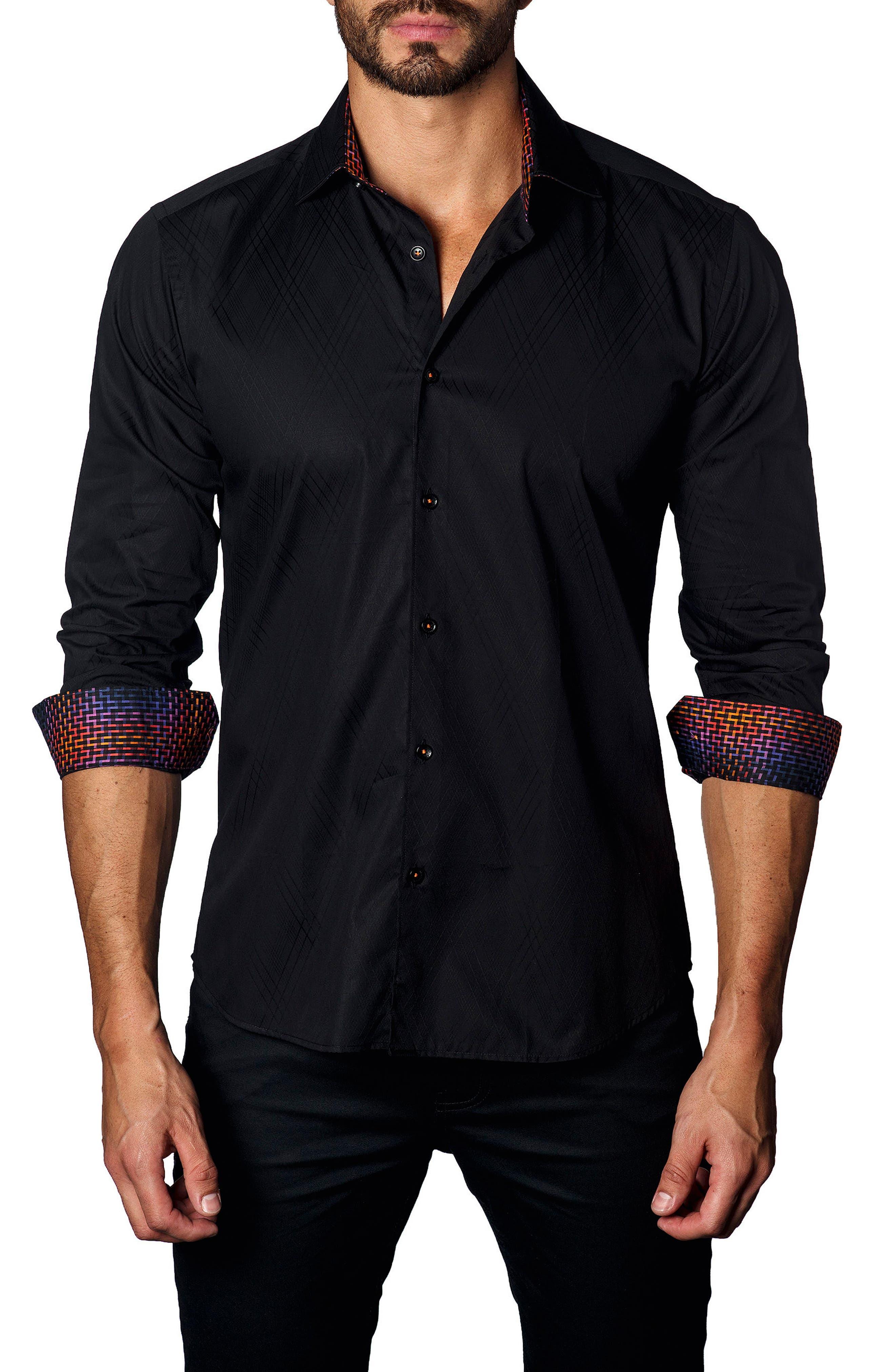 JARED LANG,                             Trim Fit Diamond Jacquard Sport Shirt,                             Main thumbnail 1, color,                             001