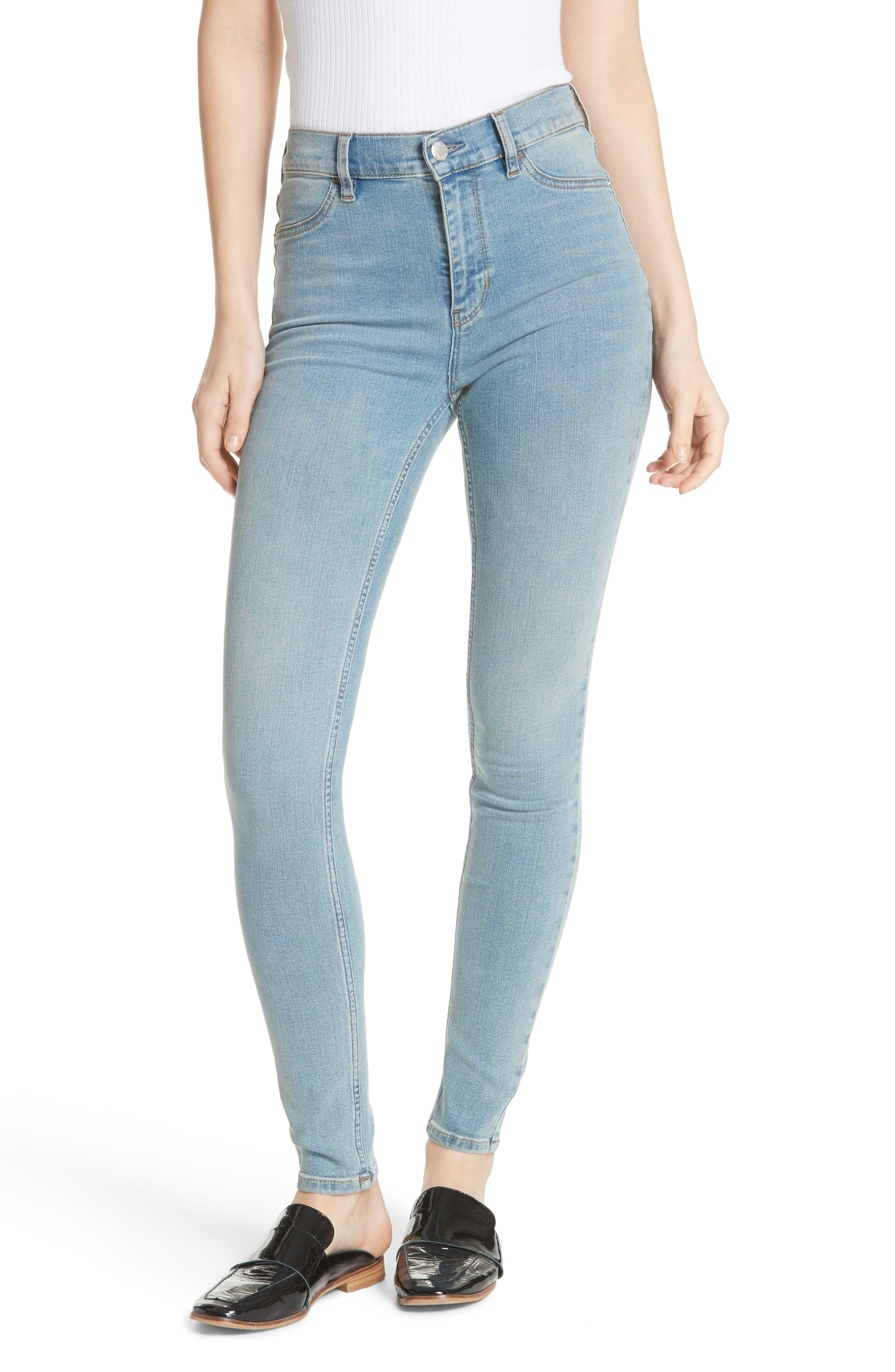 We the Free by Free People Long & Lean High Waist Denim Leggings,                             Main thumbnail 1, color,                             LIGHT DENIM