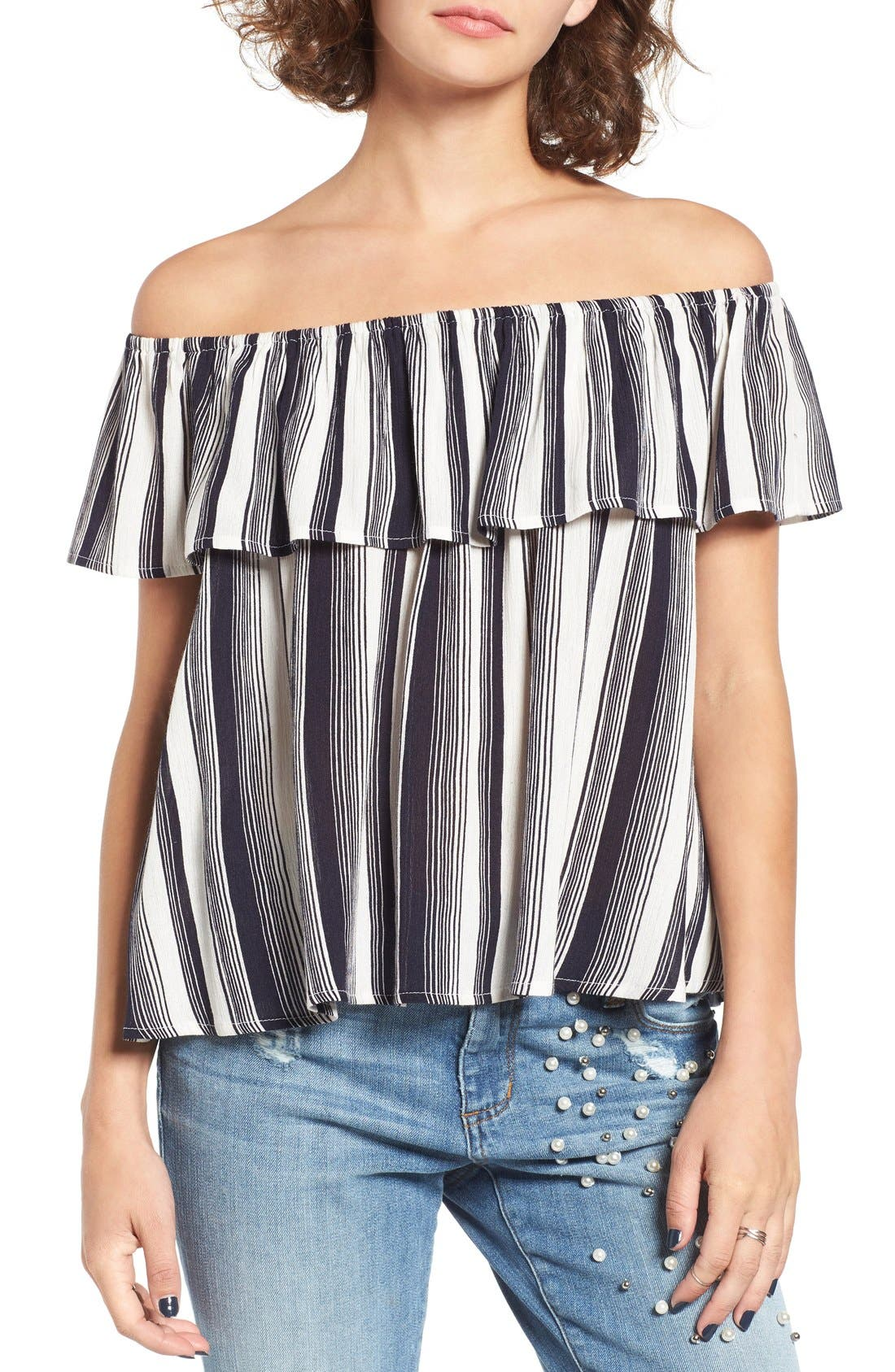 LOVE, FIRE Fire Stripe Off the Shoulder Top, Main, color, 410