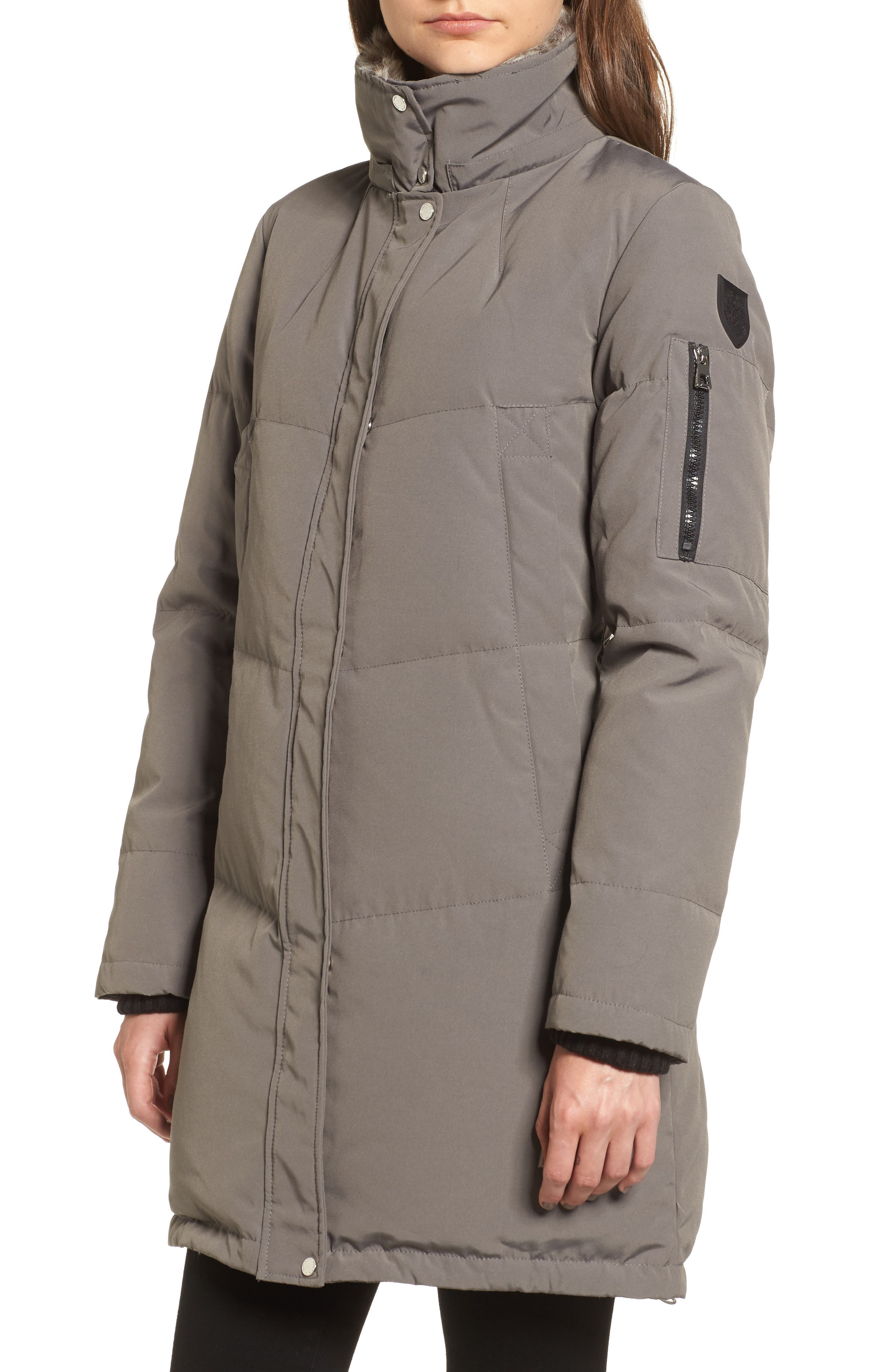 Down & Feather Fill Parka with Faux Fur Trims,                             Alternate thumbnail 4, color,                             020