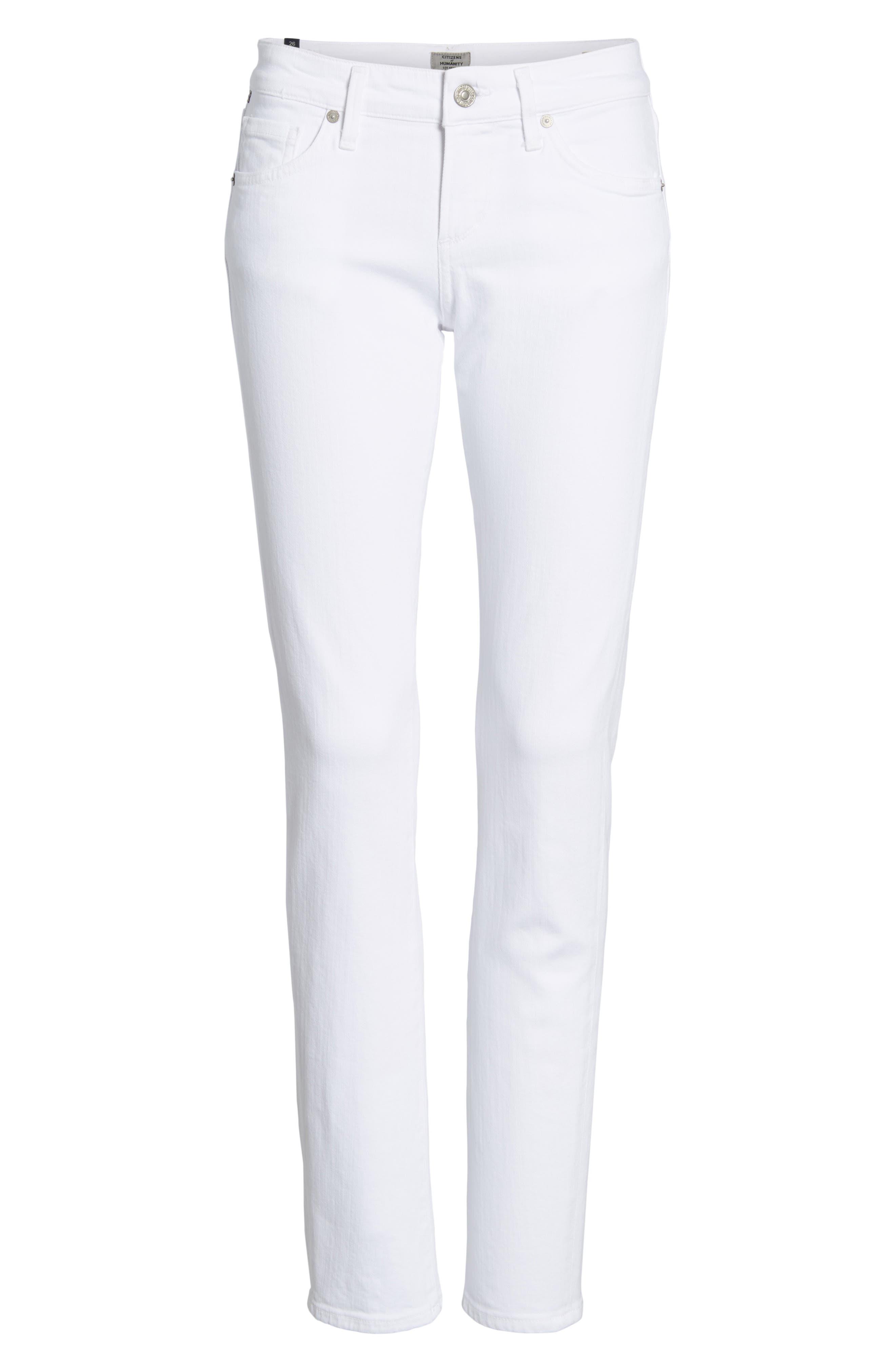 Racer Skinny Jeans,                             Alternate thumbnail 7, color,                             OPTIC WHITE