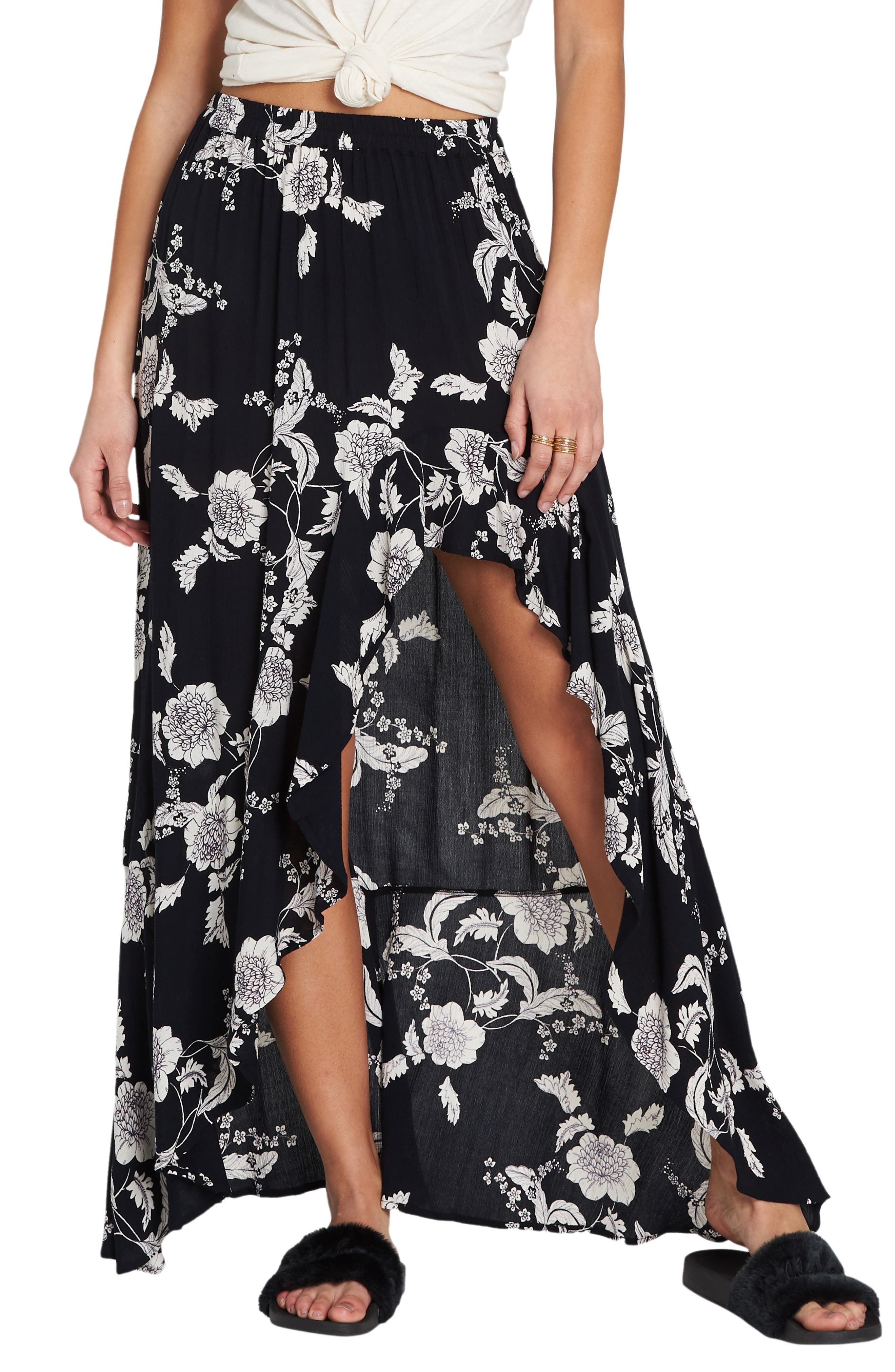 Kick Twist Floral Maxi Dress,                             Main thumbnail 1, color,                             BLACK