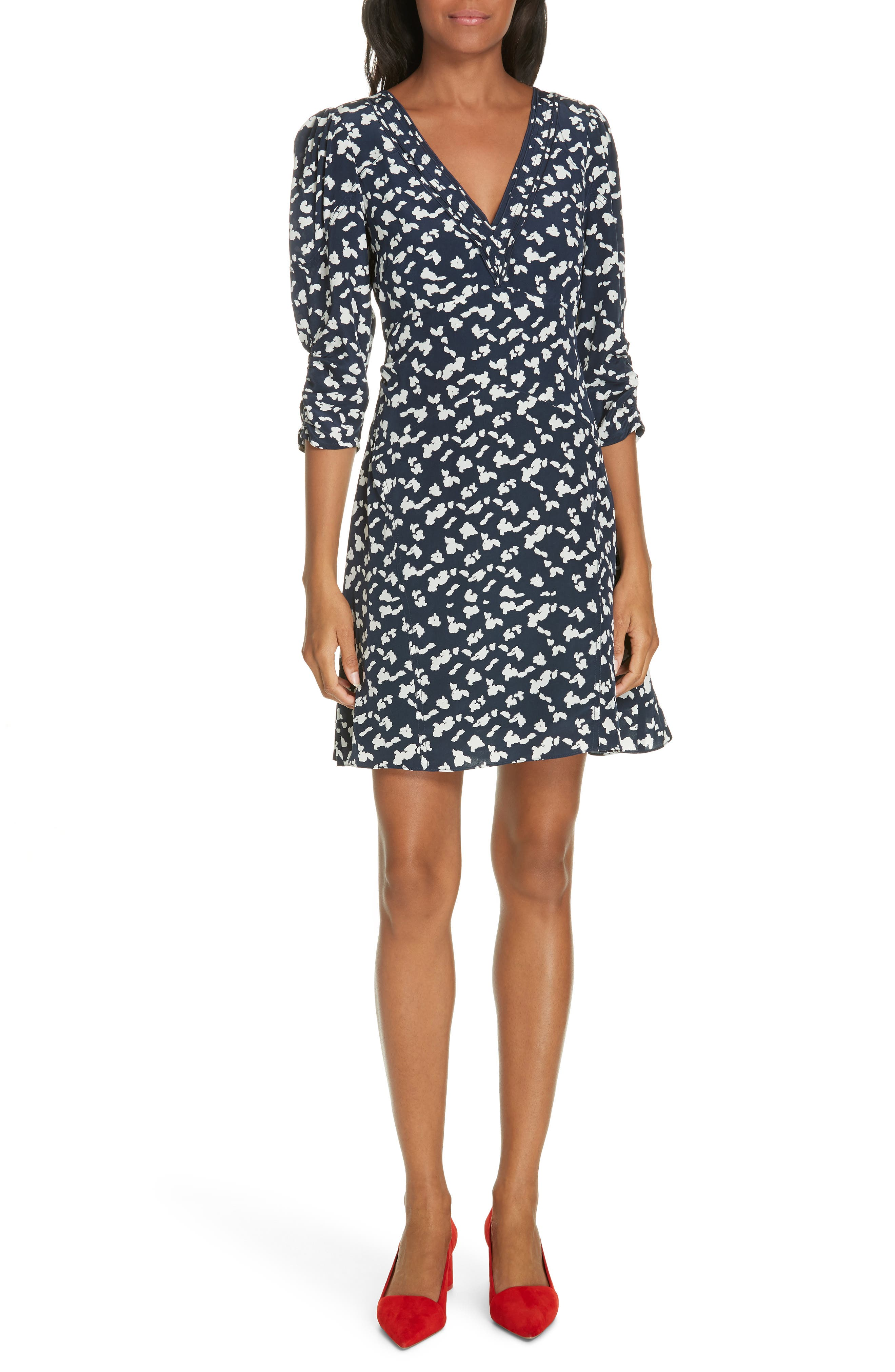 Dylan Printed Silk 3/4-Sleeve Short Dress in Navy