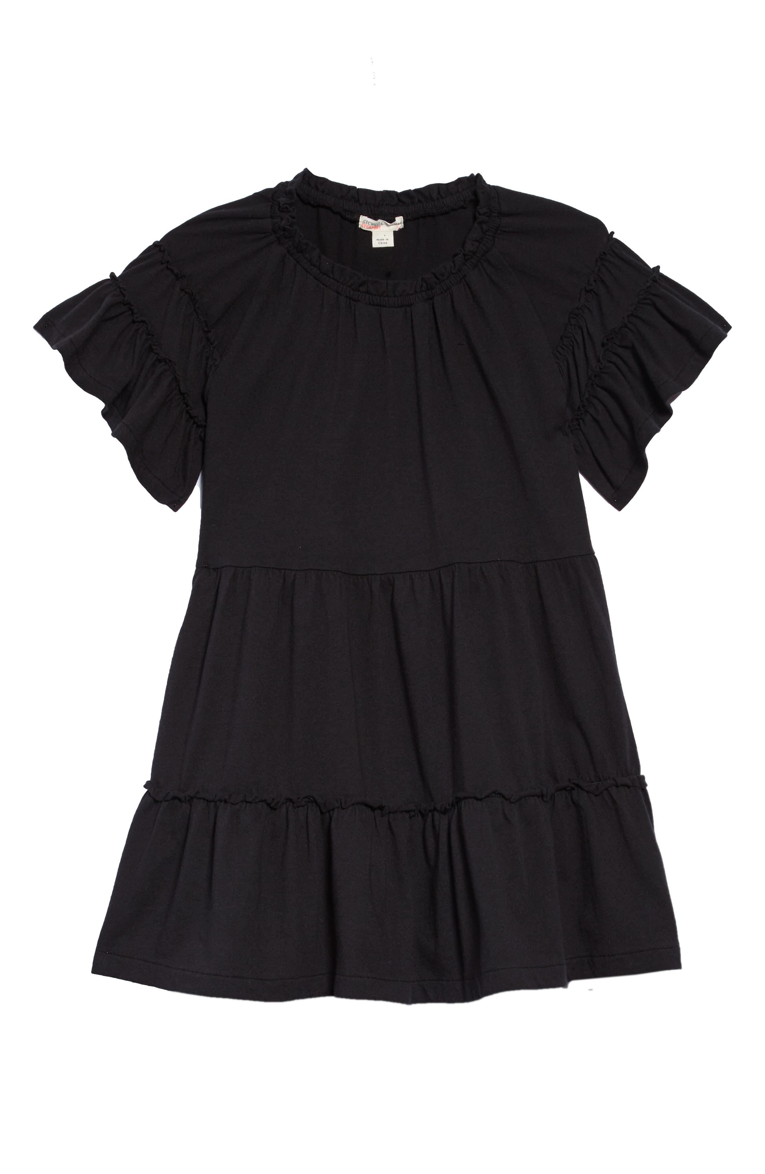 Ruffle T-Shirt Dress,                             Main thumbnail 1, color,                             001
