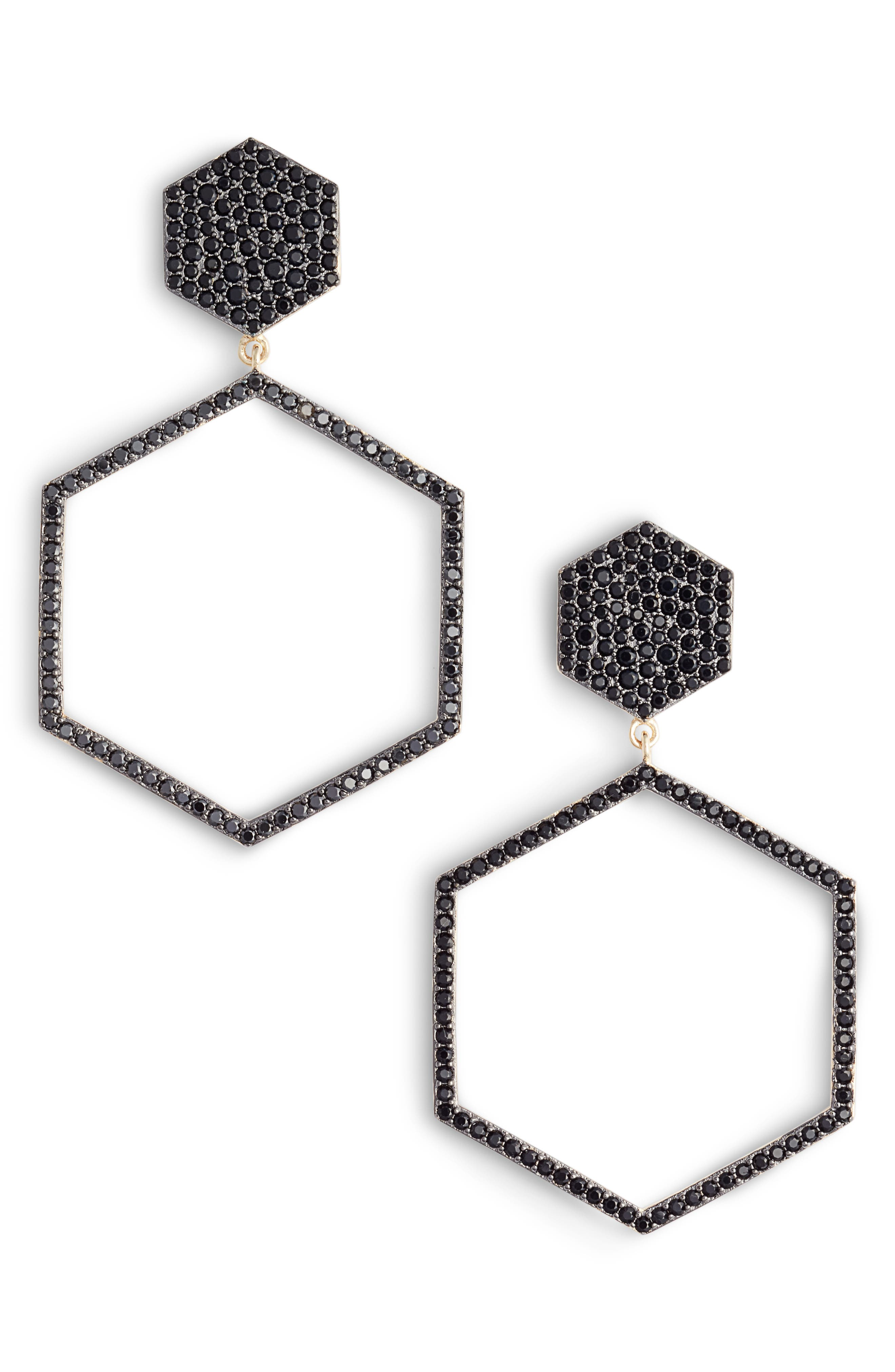Geo Daze Drop Earrings,                             Main thumbnail 1, color,                             BLACK/ GOLD