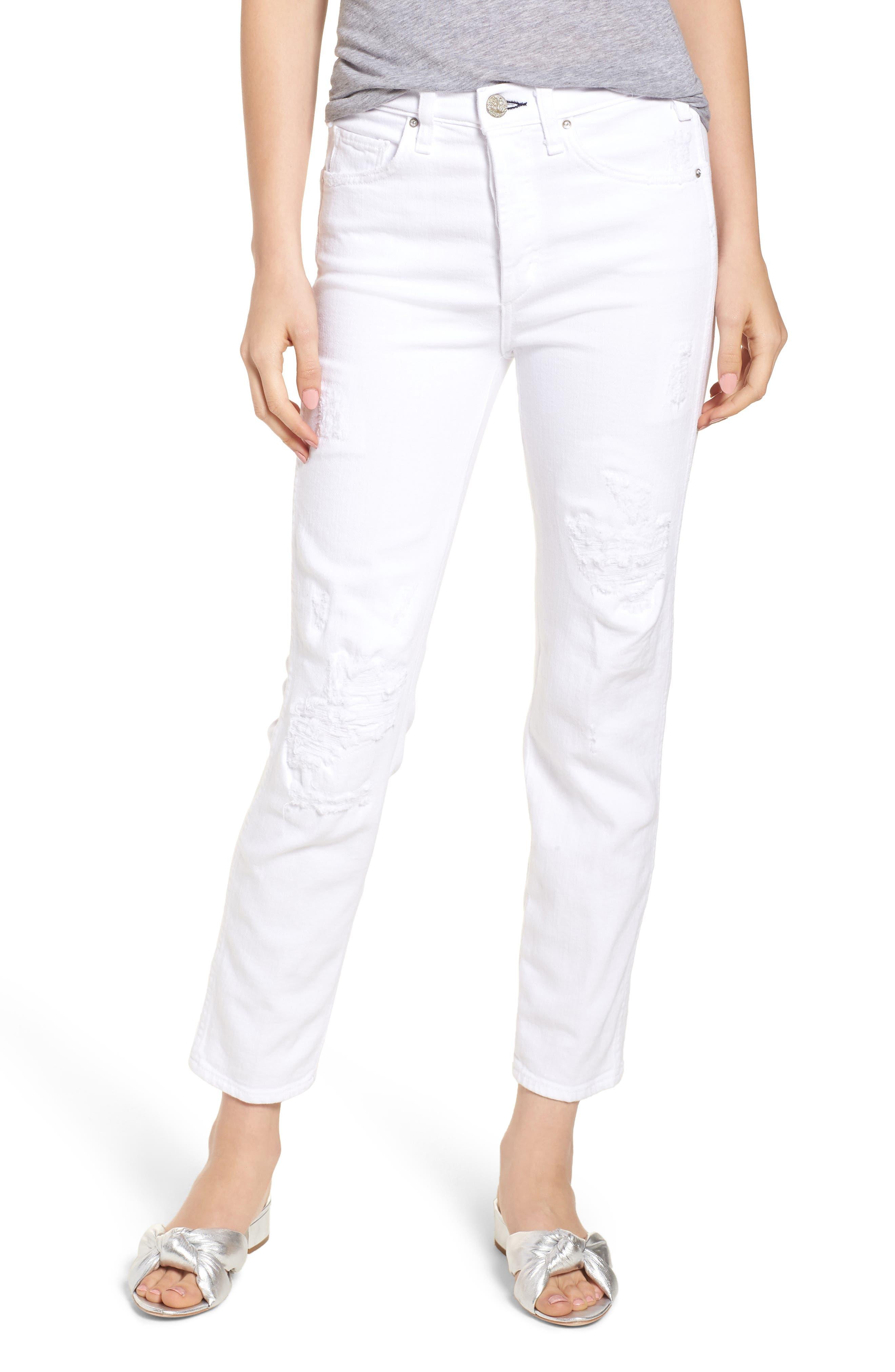 Kaia Distressed High Waist Slim Jeans,                         Main,                         color, 100