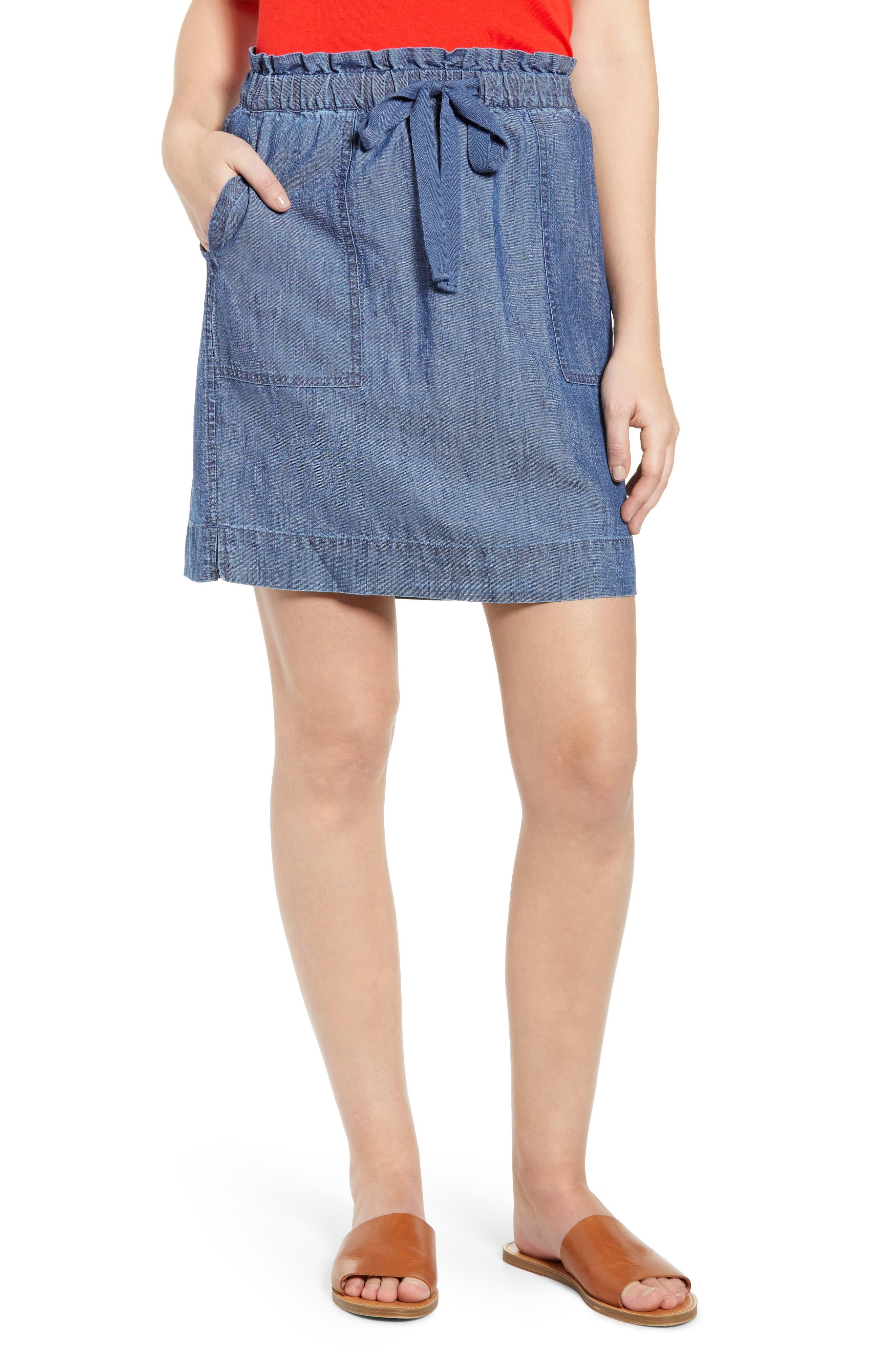 Petite Caslon Paperbag Waist Skirt, Blue