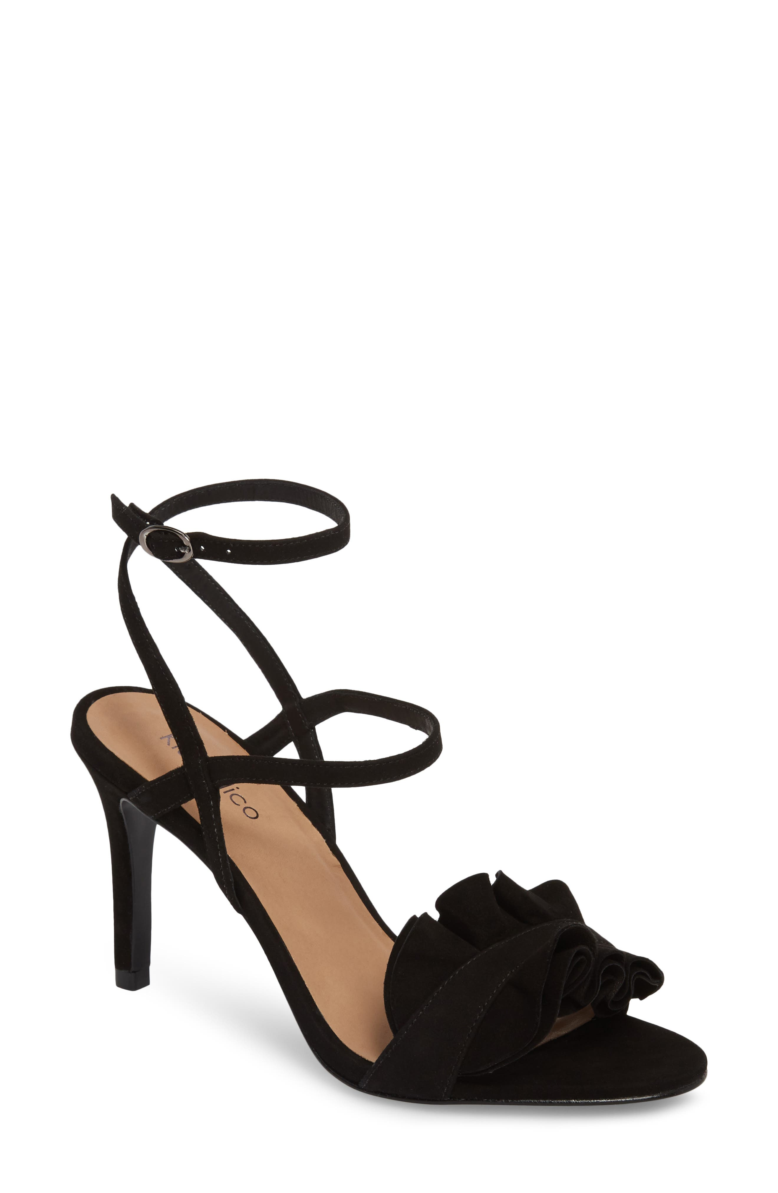 Ansley Sandal,                             Main thumbnail 1, color,                             BLACK SUEDE