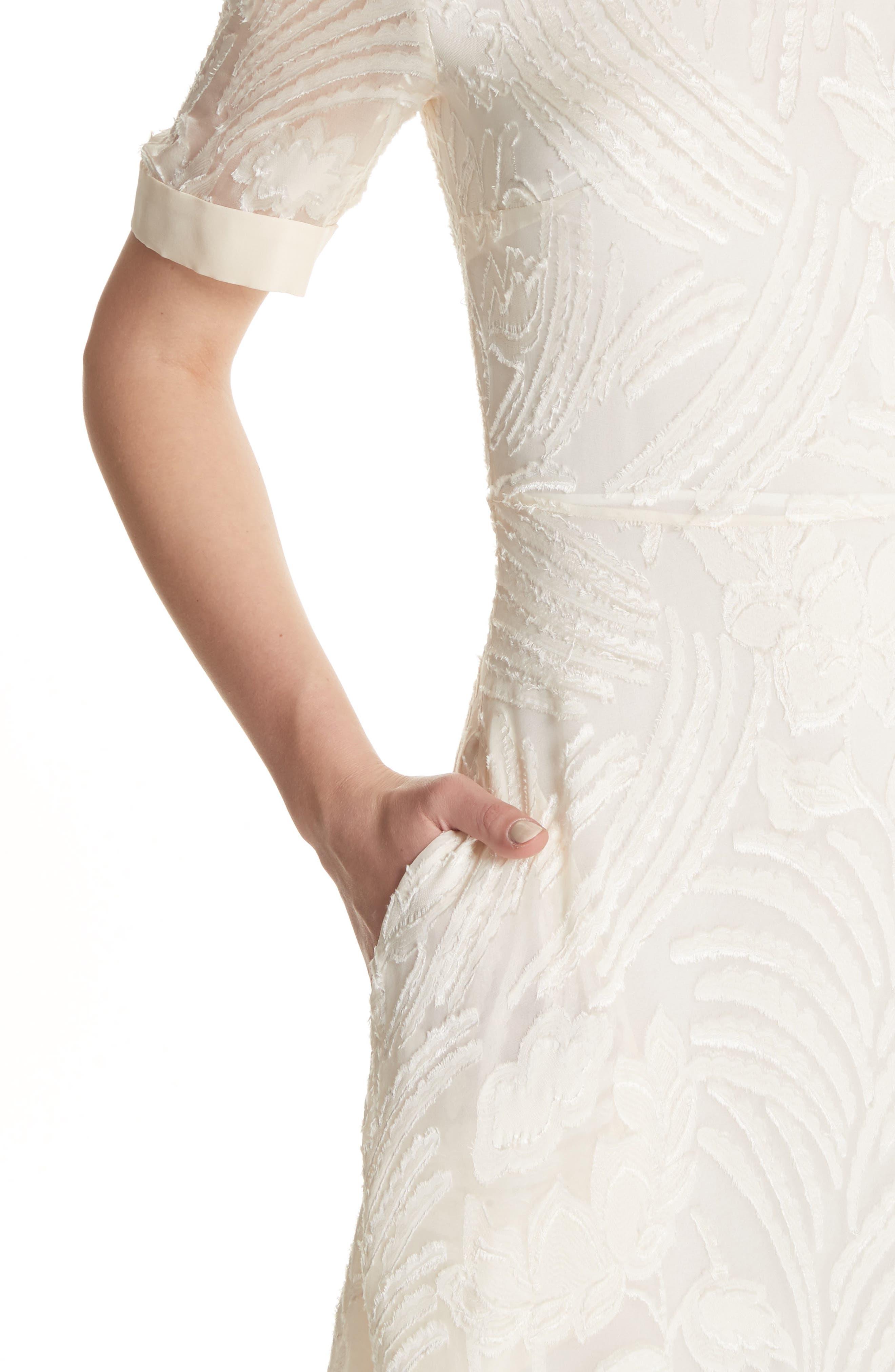 Fil Coupé A-Line Dress,                             Alternate thumbnail 4, color,                             906