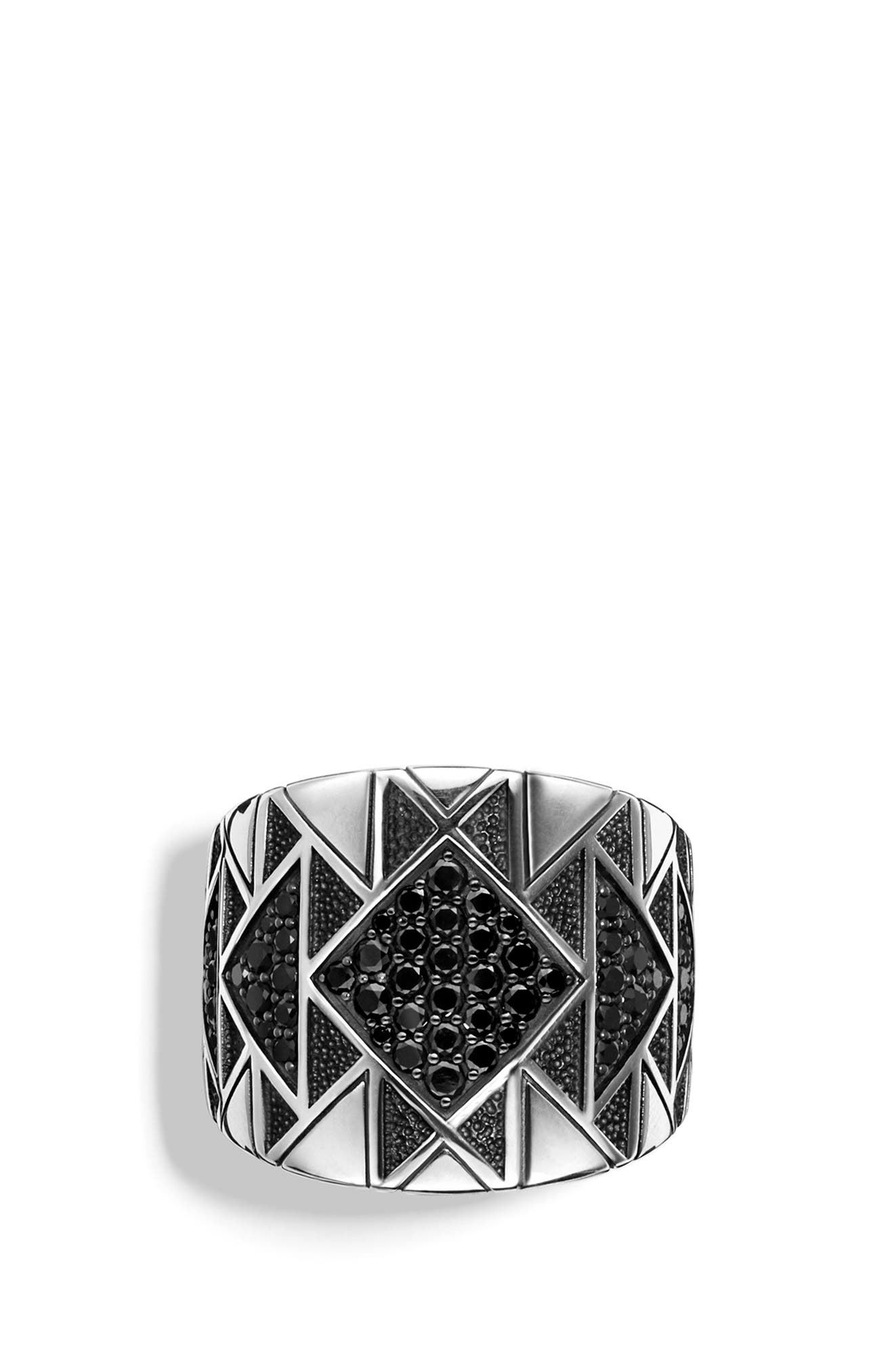 Southwest Signet Ring with Black Diamonds,                             Alternate thumbnail 8, color,