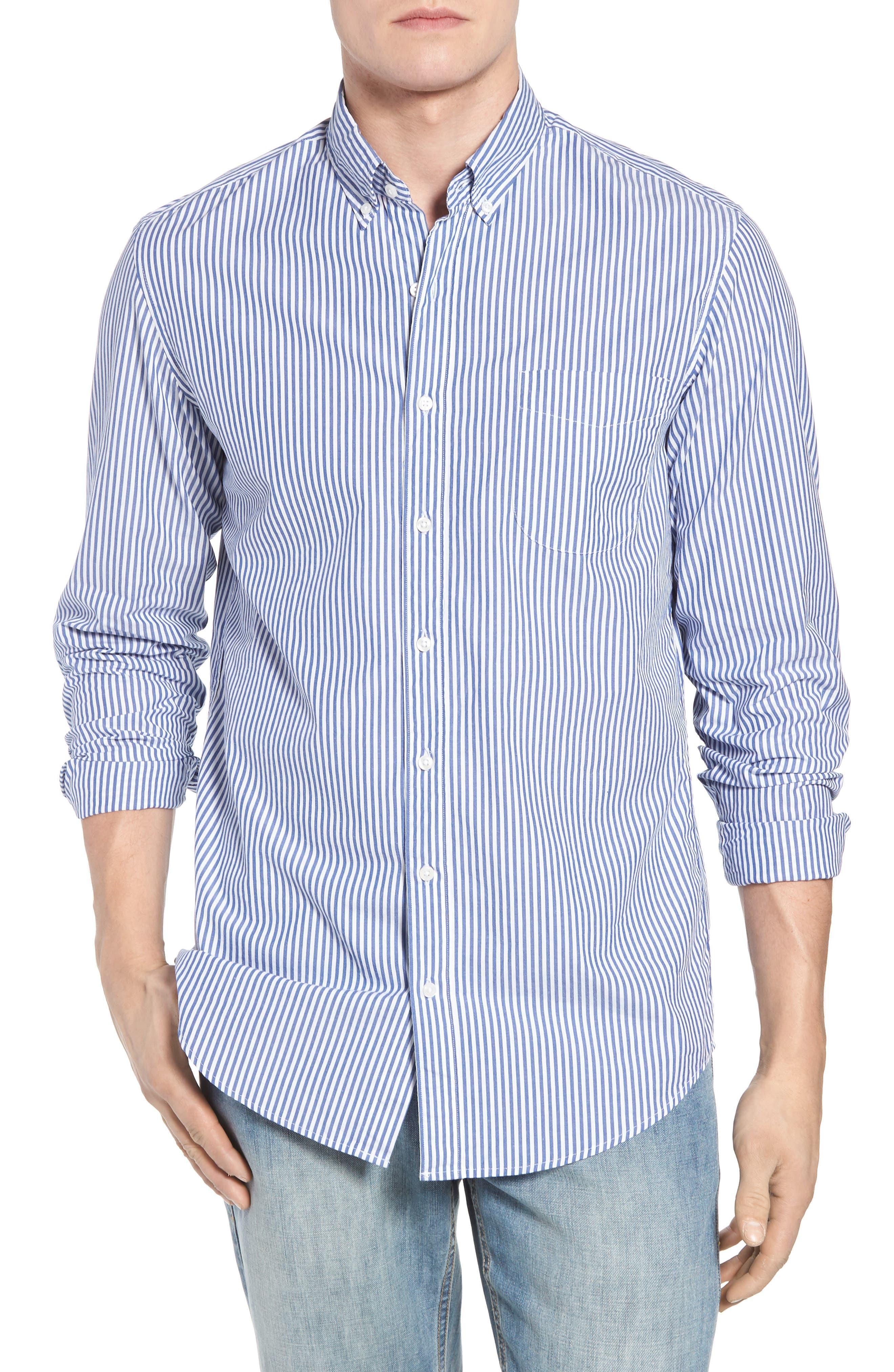 Classic Fit Stretch Secret Wash Stripe Sport Shirt,                         Main,                         color, 408