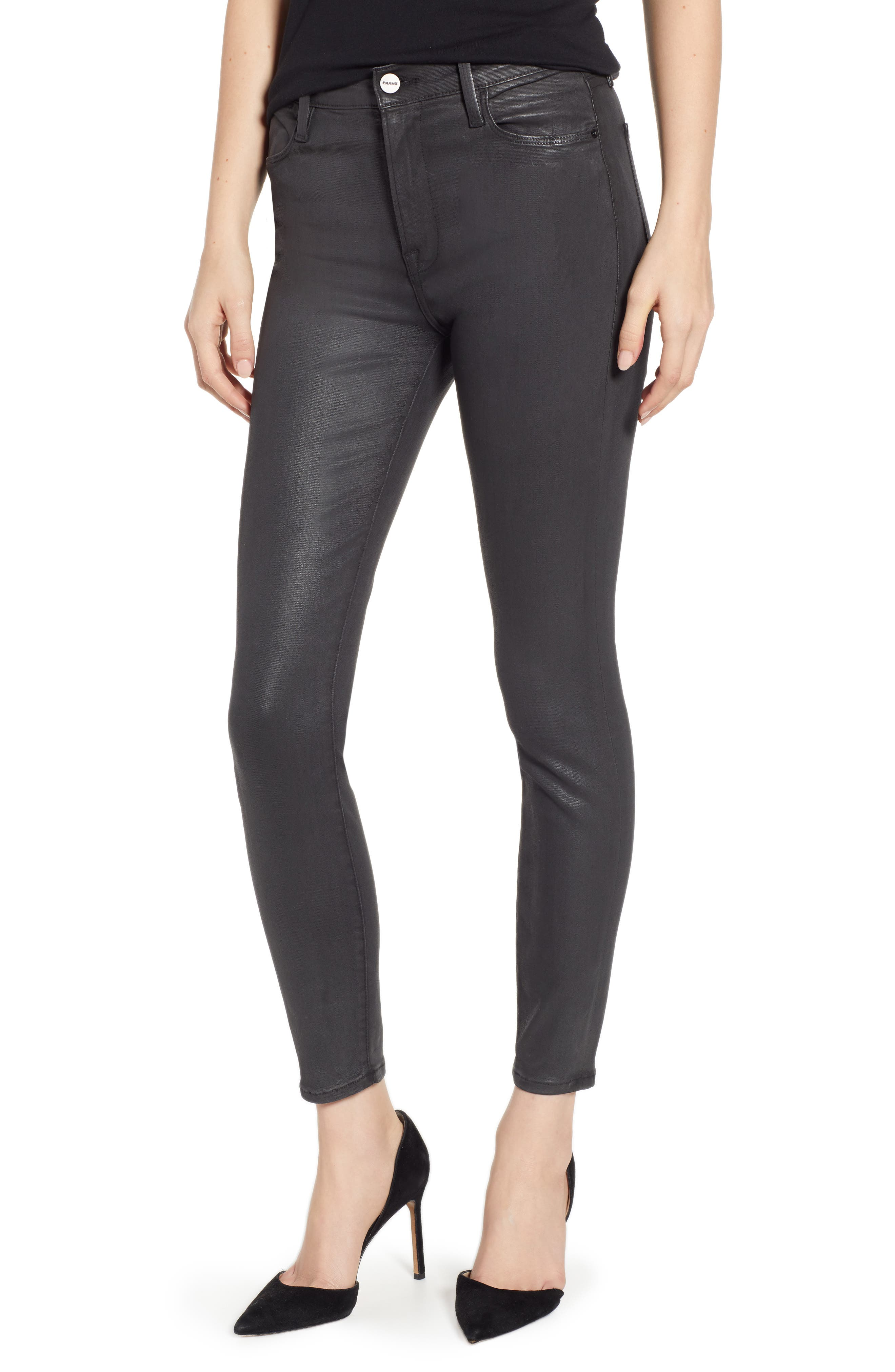 Le High Ankle Skinny Jeans, Main, color, STONE COATED