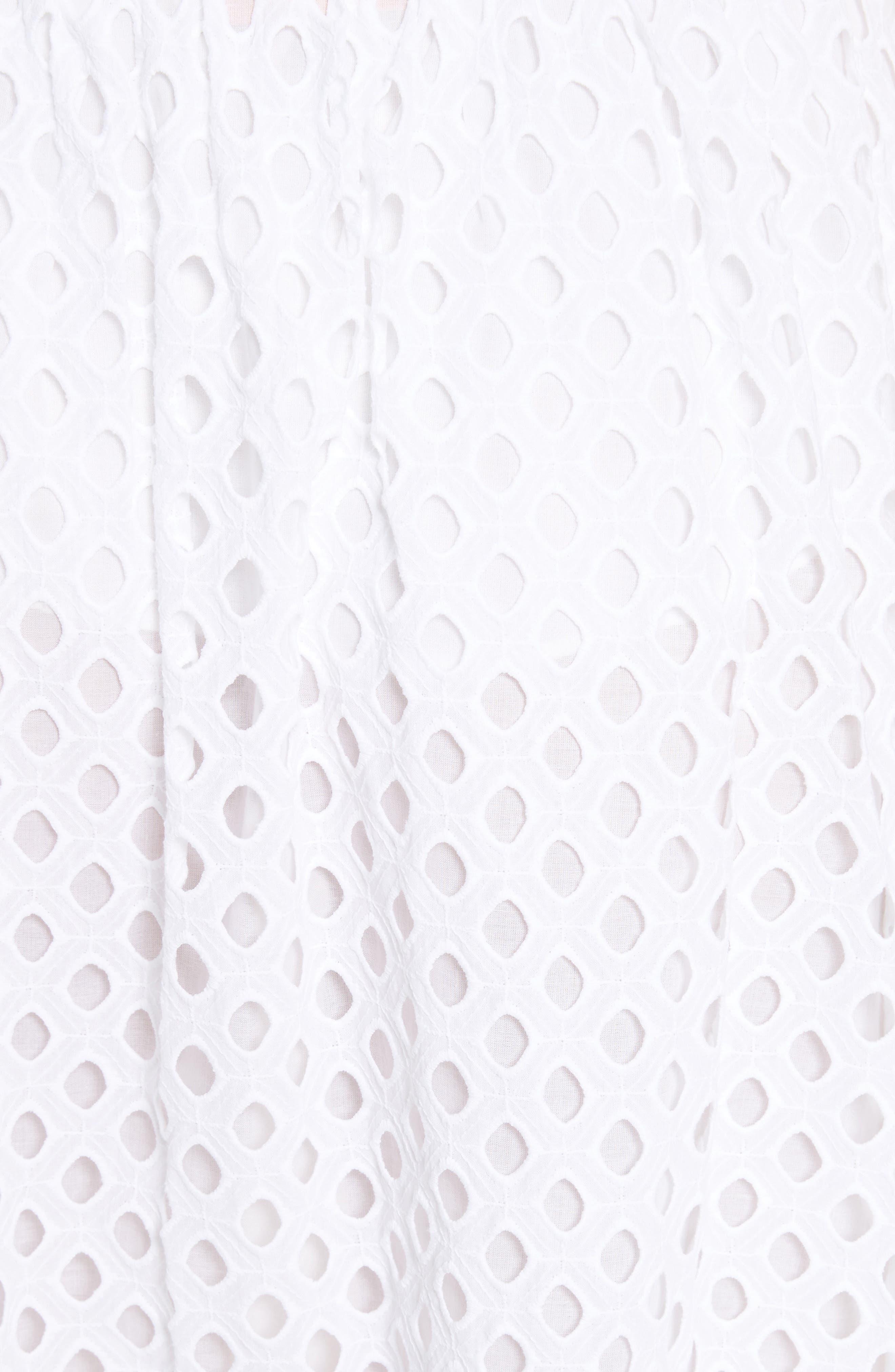 Hermosa Eyelet Midi Skirt,                             Alternate thumbnail 4, color,                             100