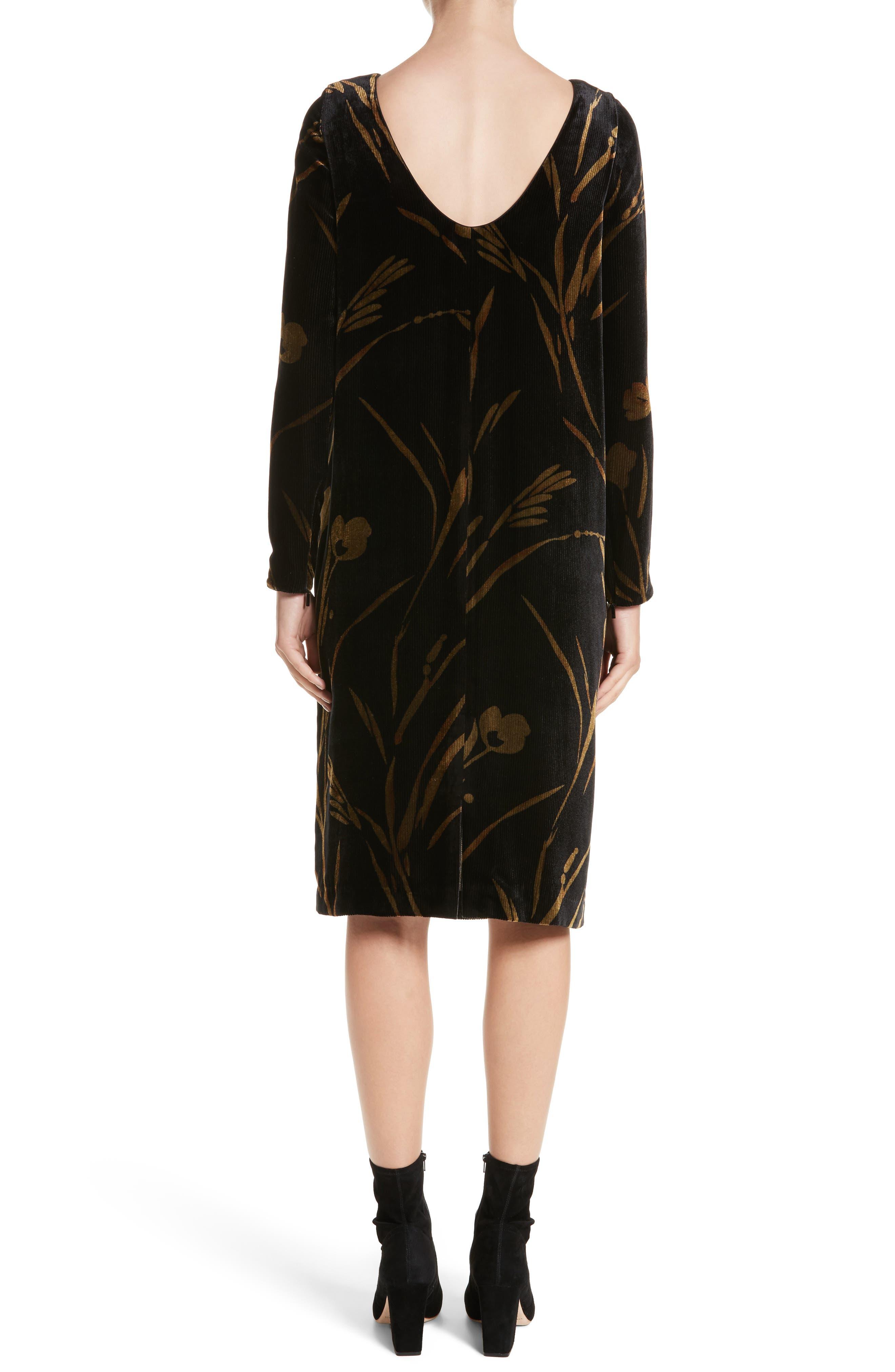 Loribel Golden Bloom Velvet Dress,                             Alternate thumbnail 2, color,