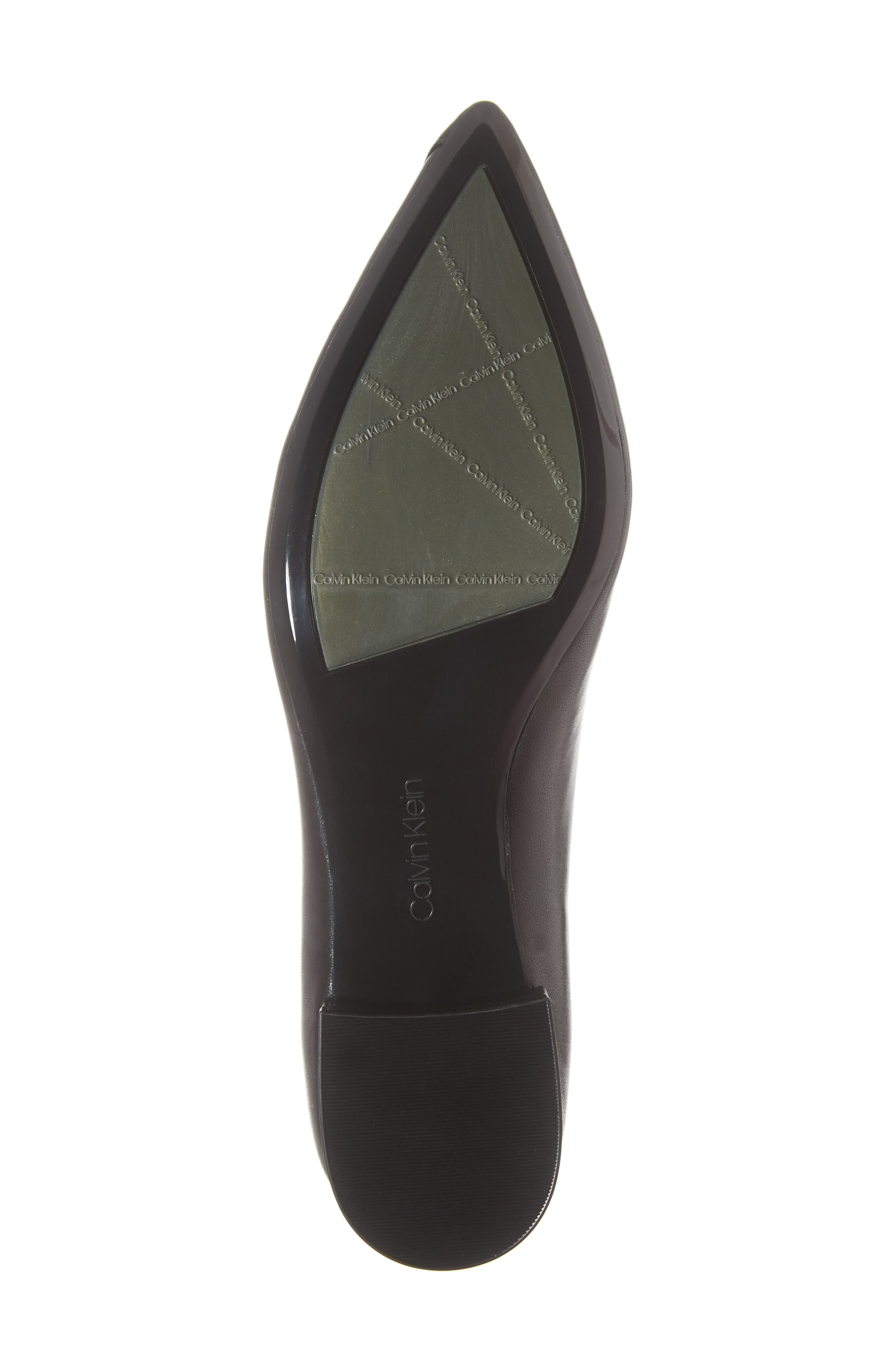 Arline Pointy Toe Flat,                             Alternate thumbnail 6, color,                             BLACK LEATHER
