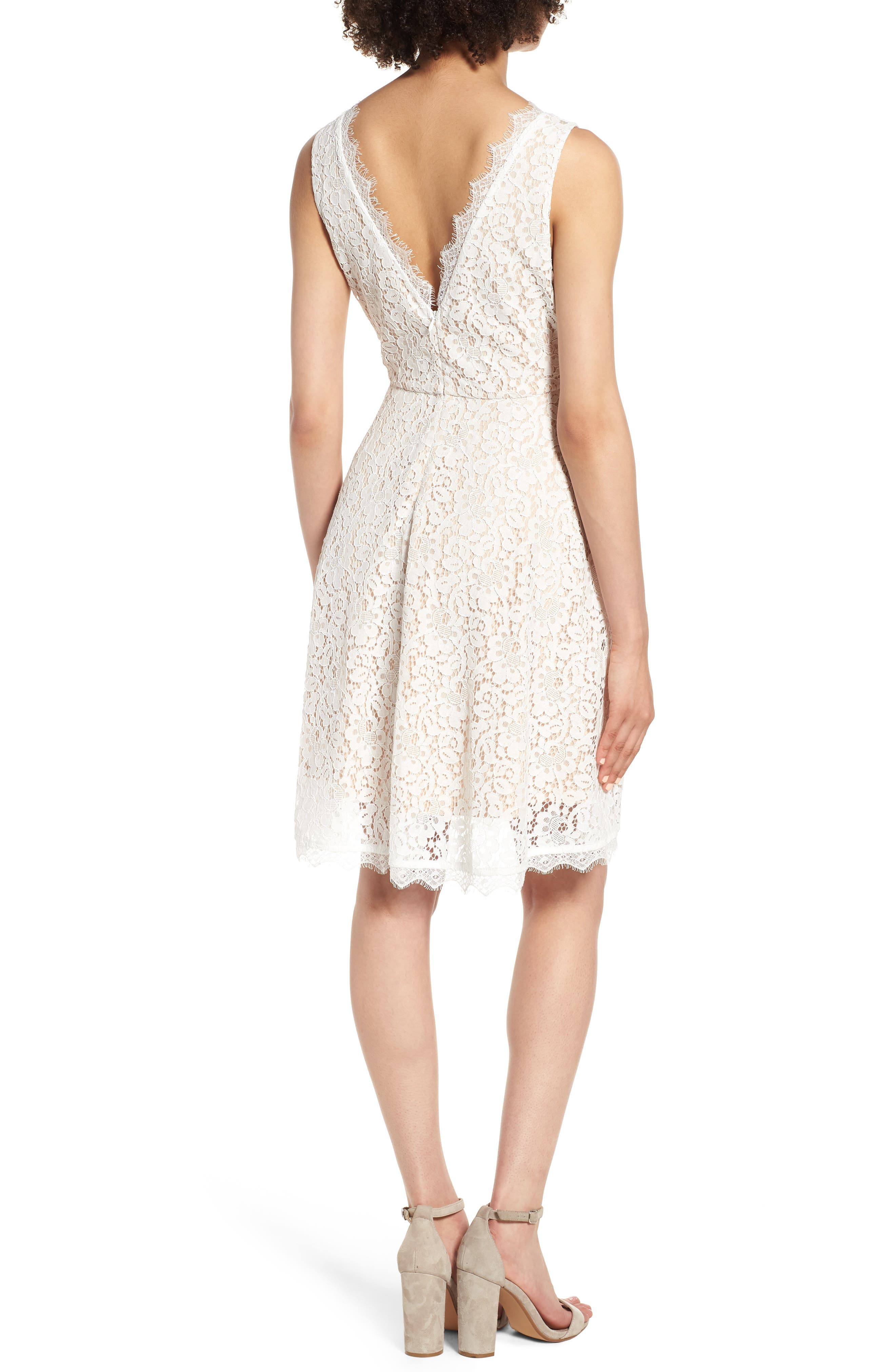 Lace Fit & Flare Dress,                             Alternate thumbnail 2, color,                             IVORY