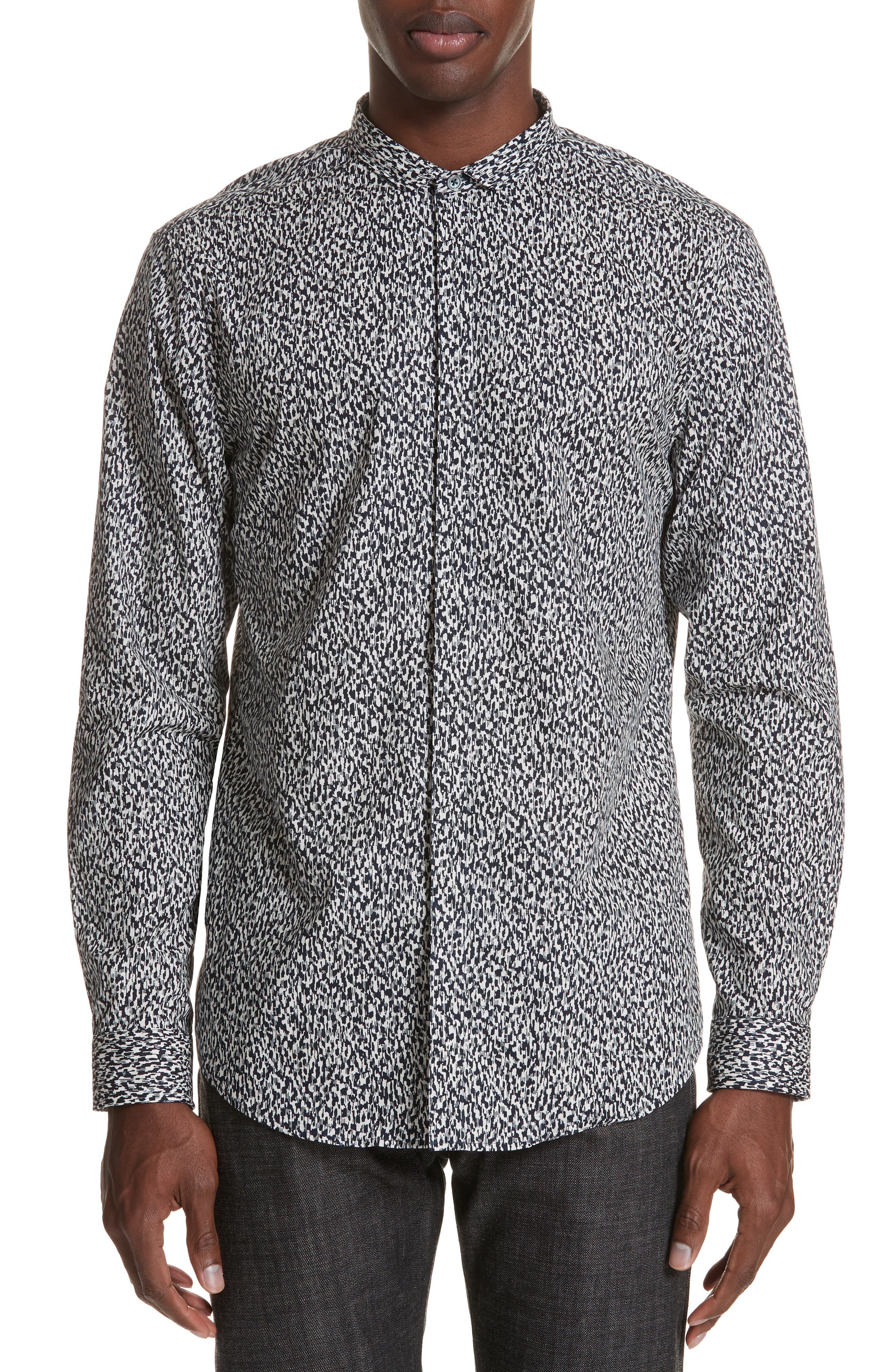 Slim Fit Print Sport Shirt,                         Main,                         color, BLACK/WHITE
