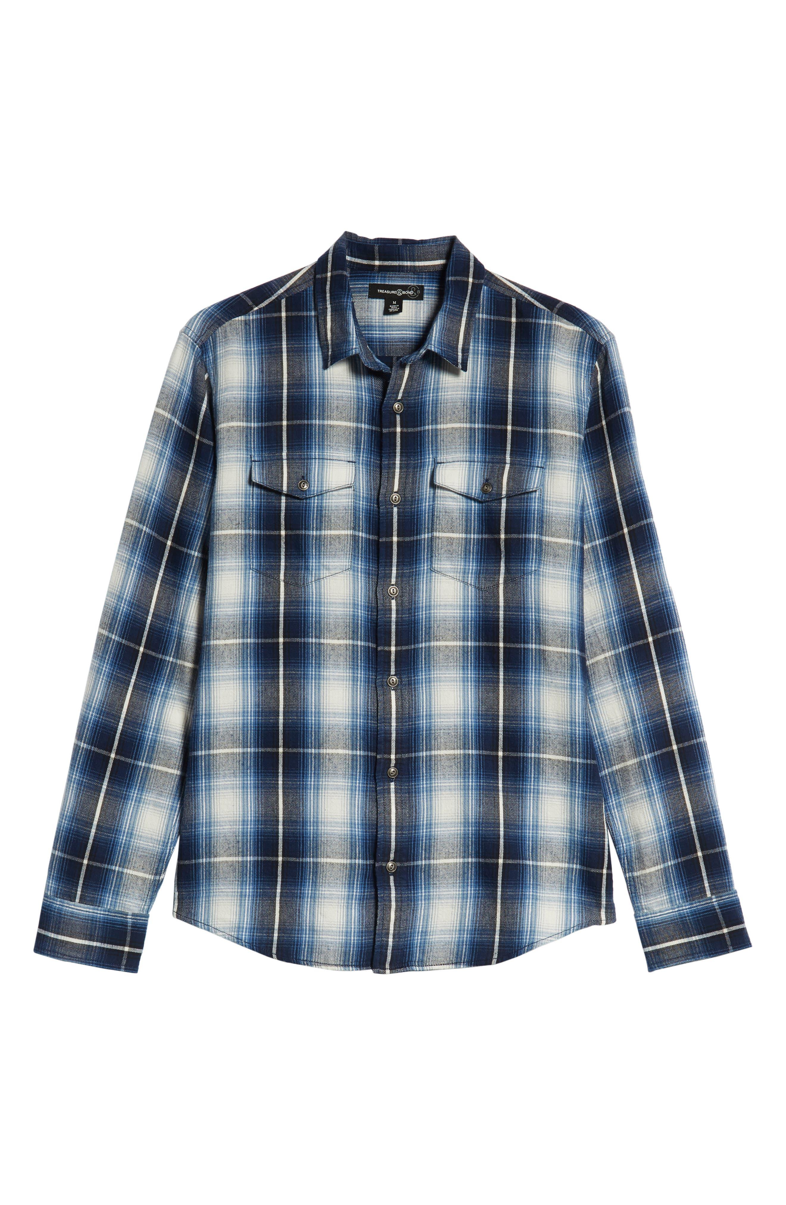 Slim Fit Plaid Flap Pocket Sport Shirt,                             Alternate thumbnail 6, color,                             BLUE CASPIA RIVER PLAID