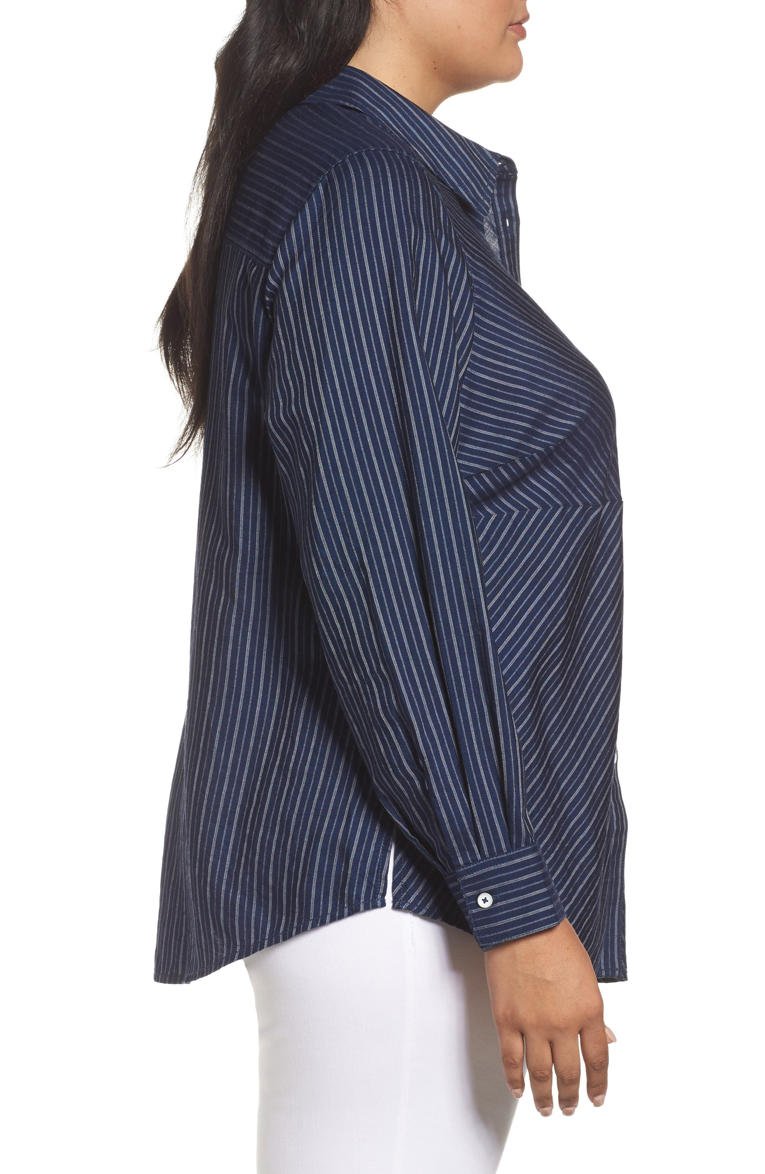 Hazel Pinstripe Shirt,                             Alternate thumbnail 3, color,