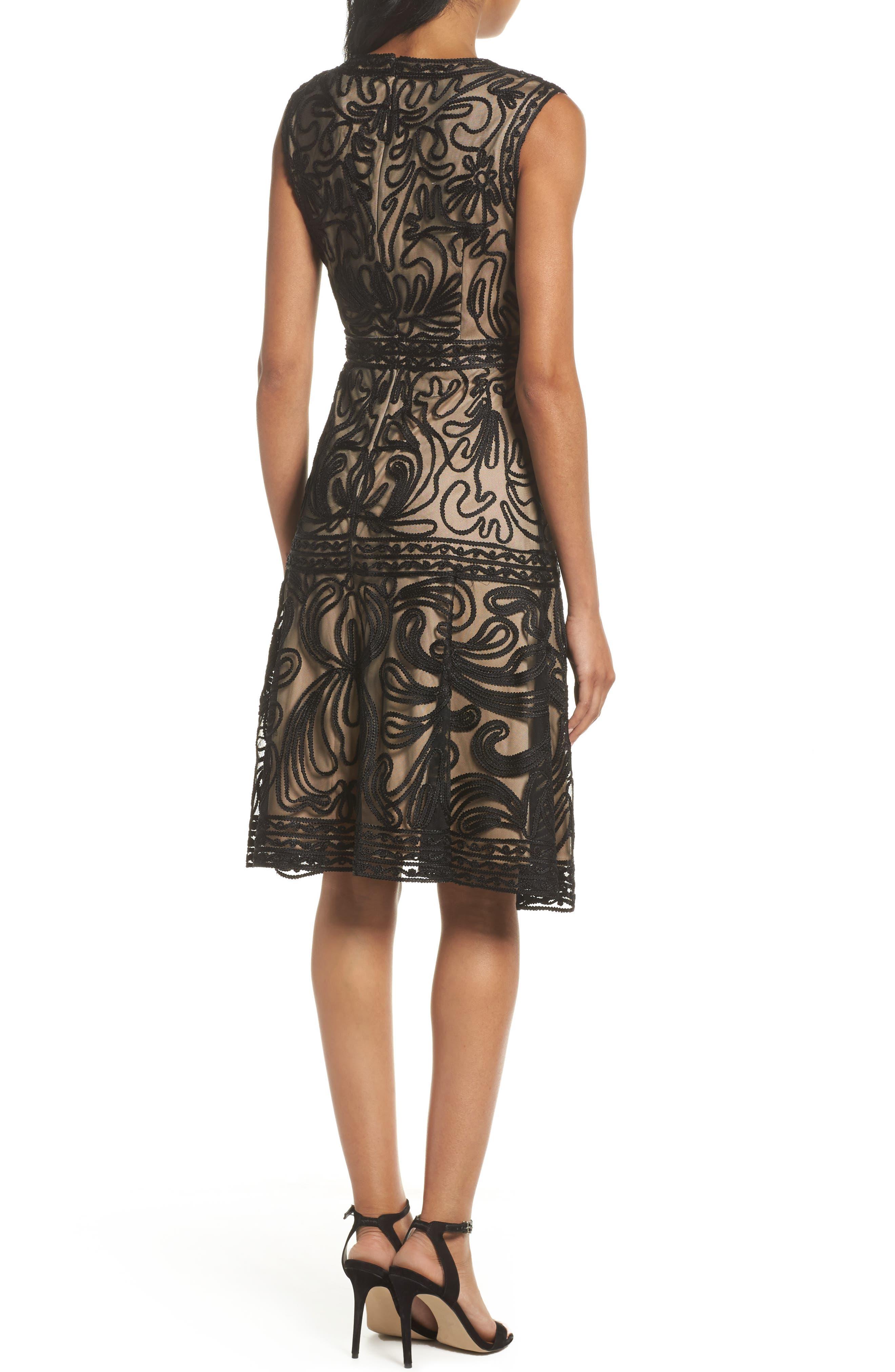 Soutache Fit & Flare Dress,                             Alternate thumbnail 2, color,                             001