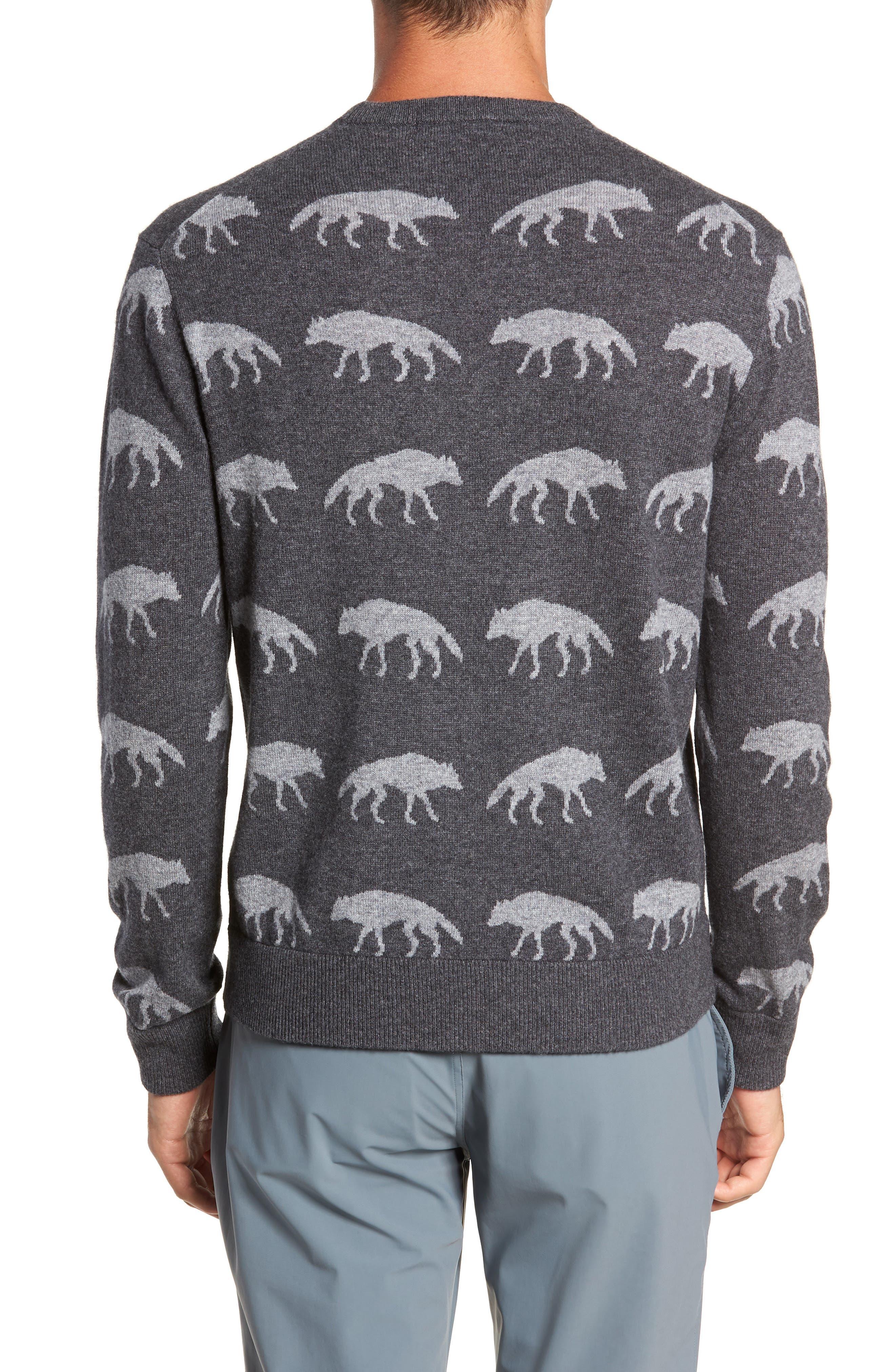 Alphawolf Intarsia Crewneck Sweater,                             Alternate thumbnail 2, color,                             GREY HEATHER