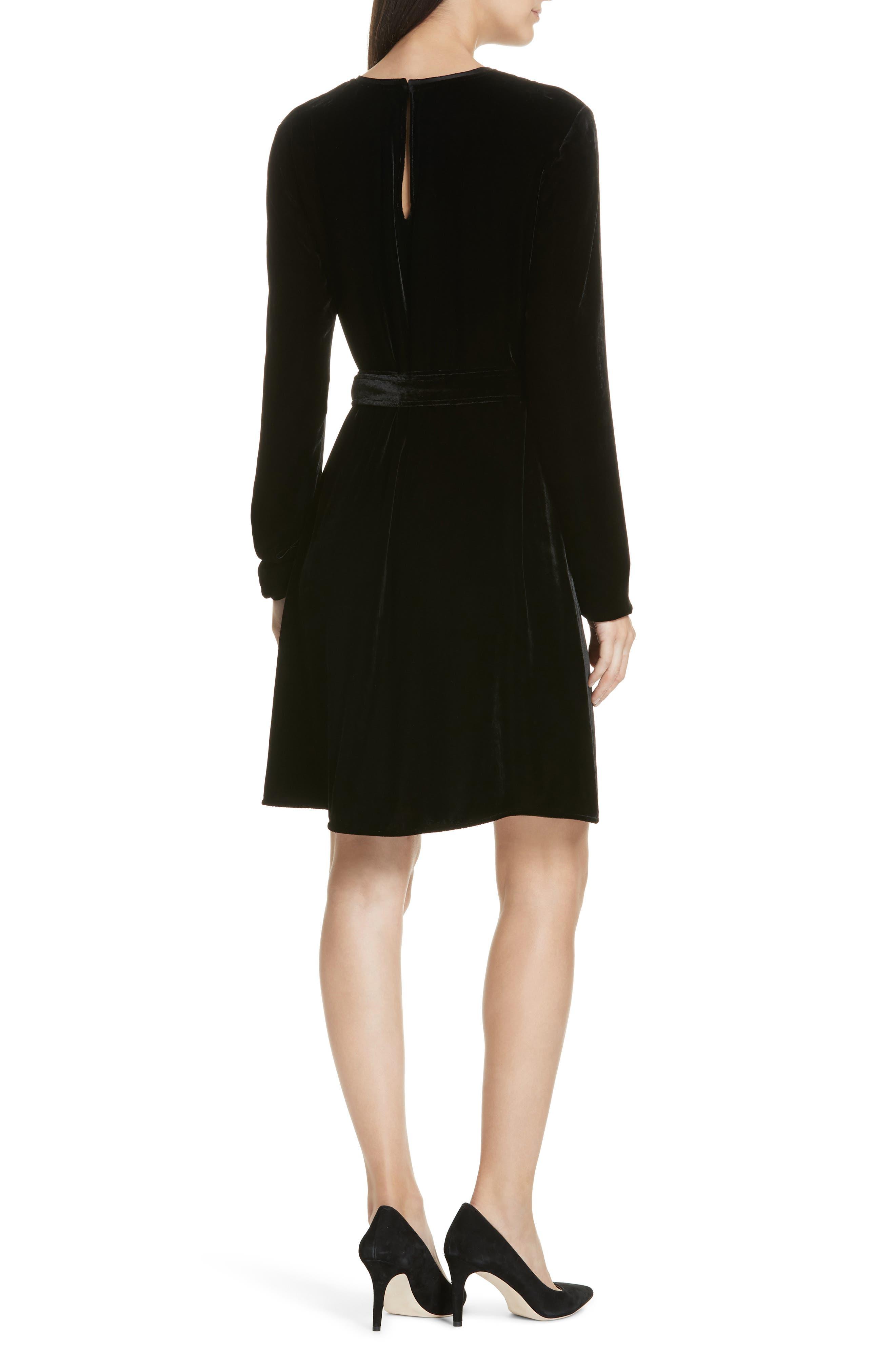Belted Crinkled Velvet Dress,                             Alternate thumbnail 2, color,                             001