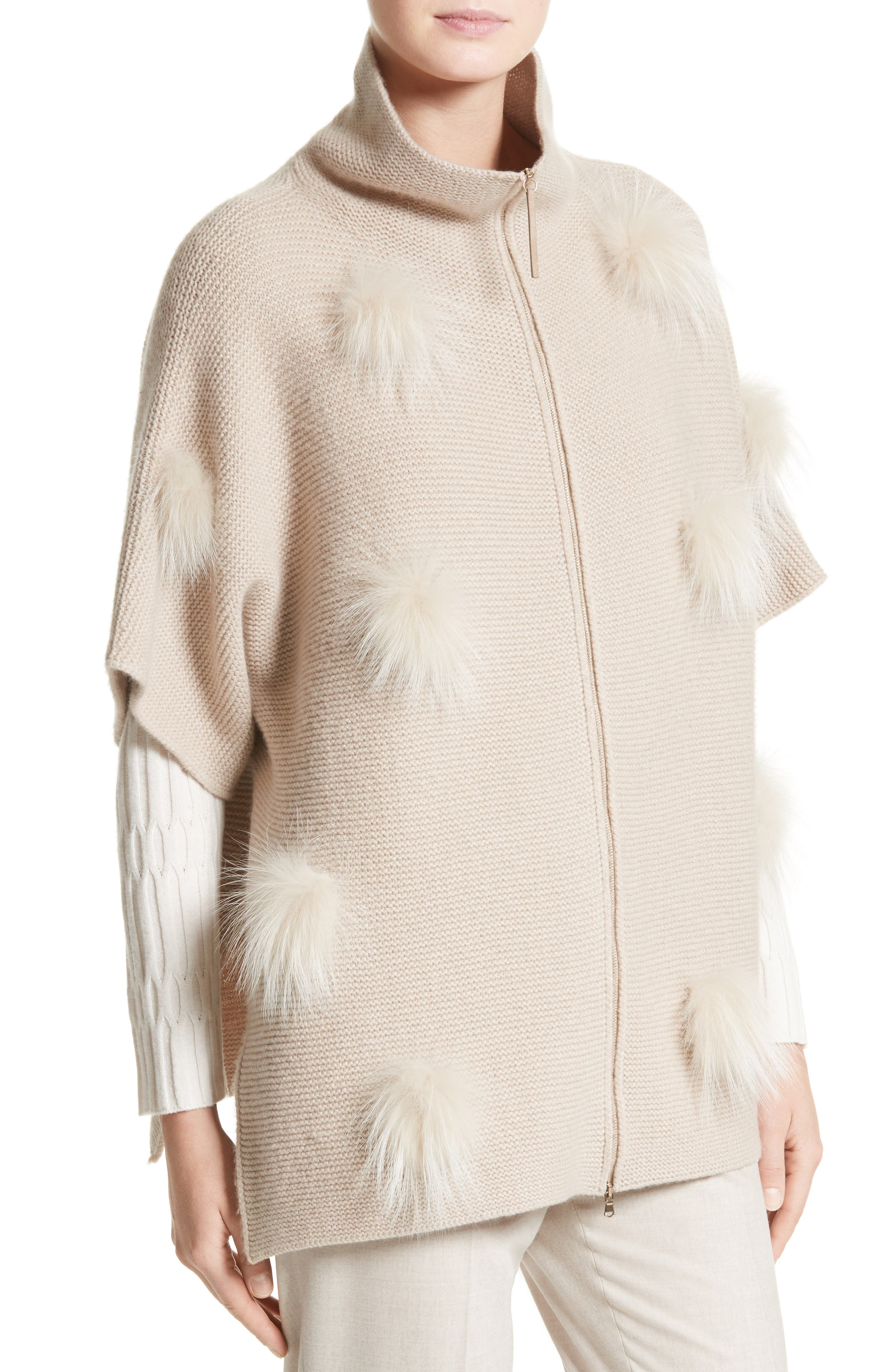 Micro Braid Cashmere Zip Cardigan with Genuine Fox Fur Trim,                             Alternate thumbnail 4, color,                             101
