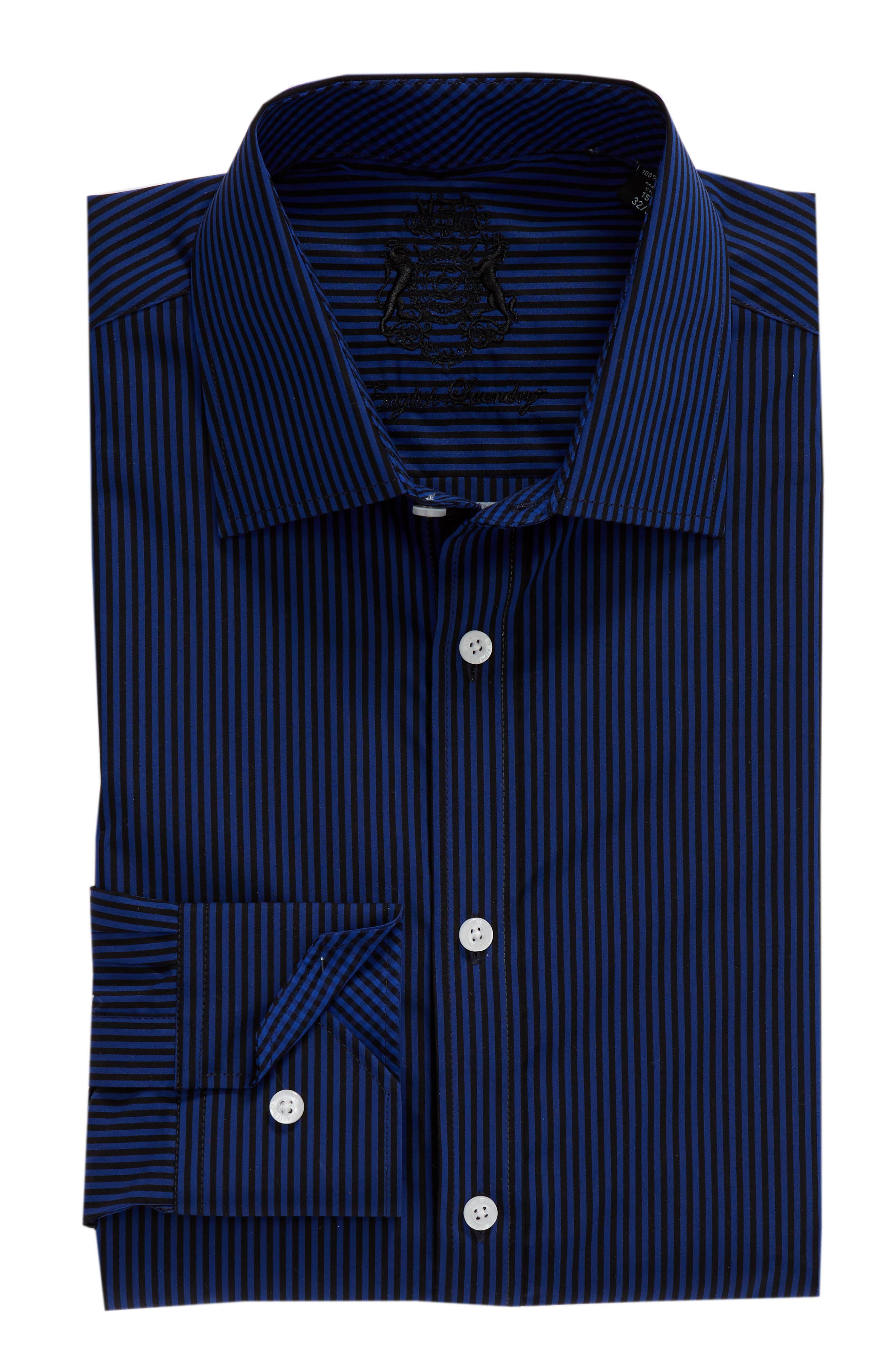 Regular Fit Stripe Dress Shirt,                             Alternate thumbnail 5, color,                             BLUE