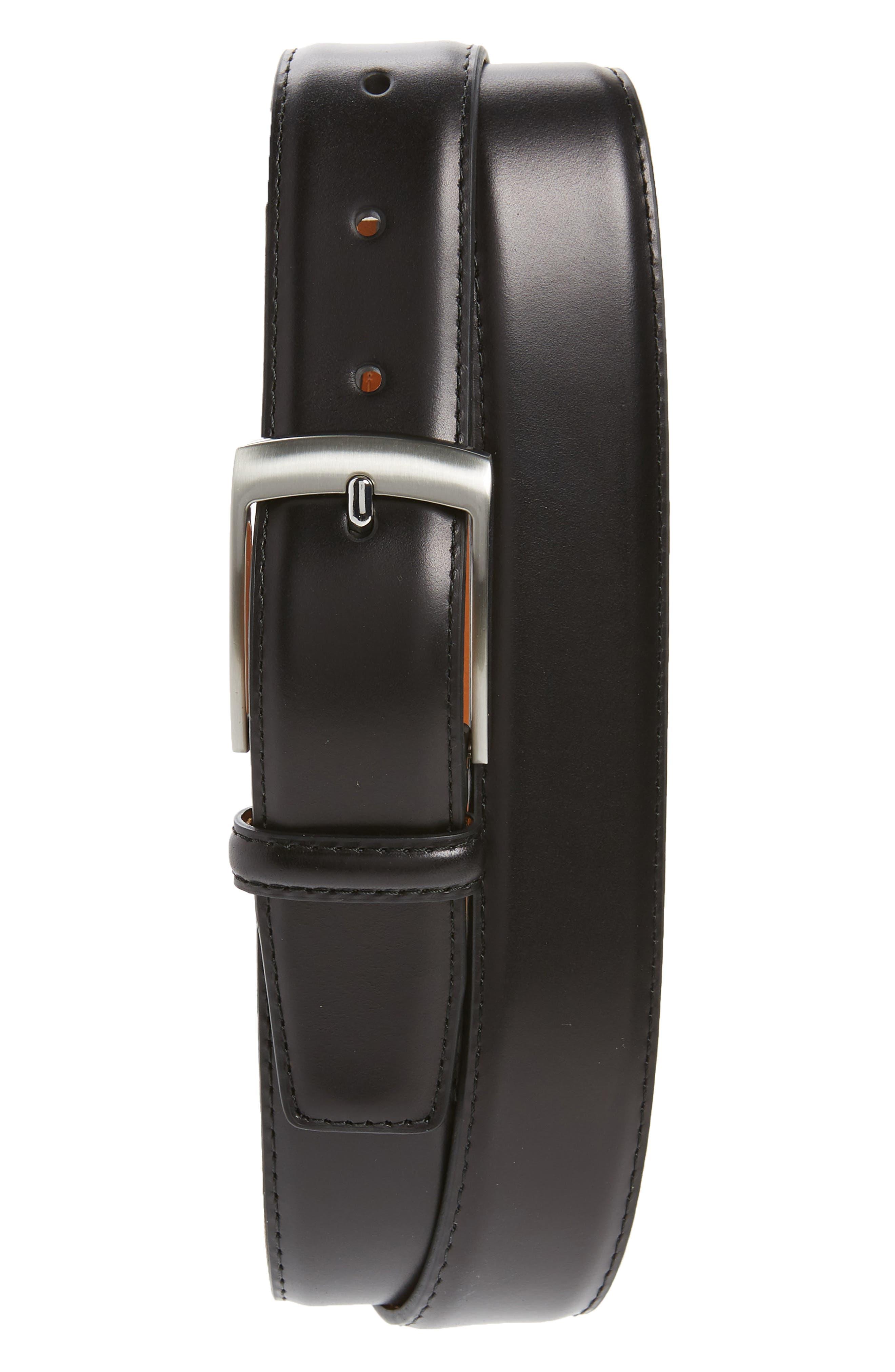 Rafael Leather Belt,                         Main,                         color, BLACK